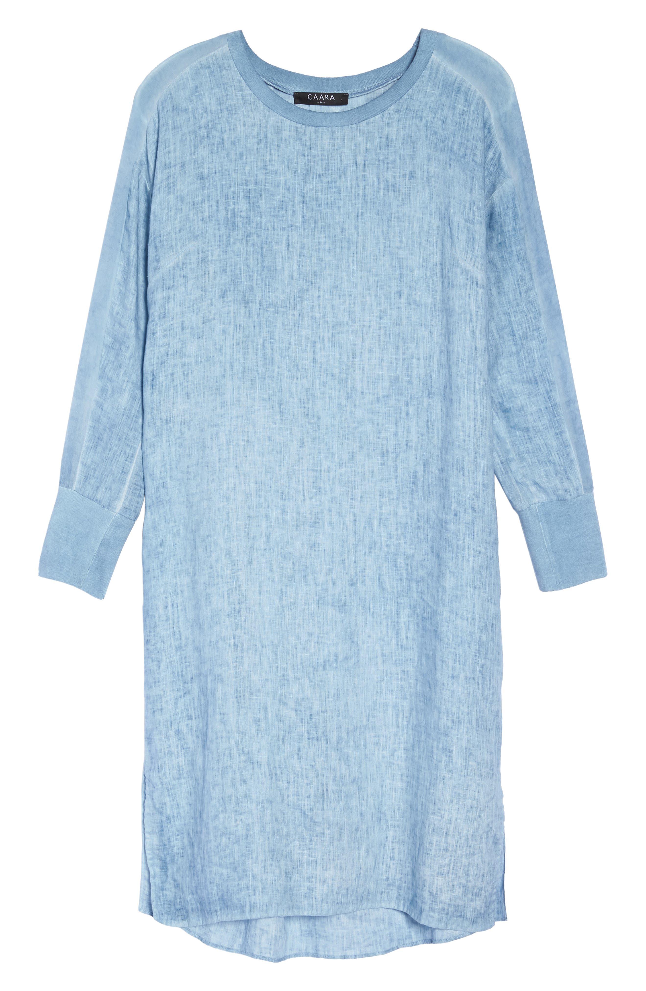 Rata Linen Shift Dress,                             Alternate thumbnail 7, color,                             Blue