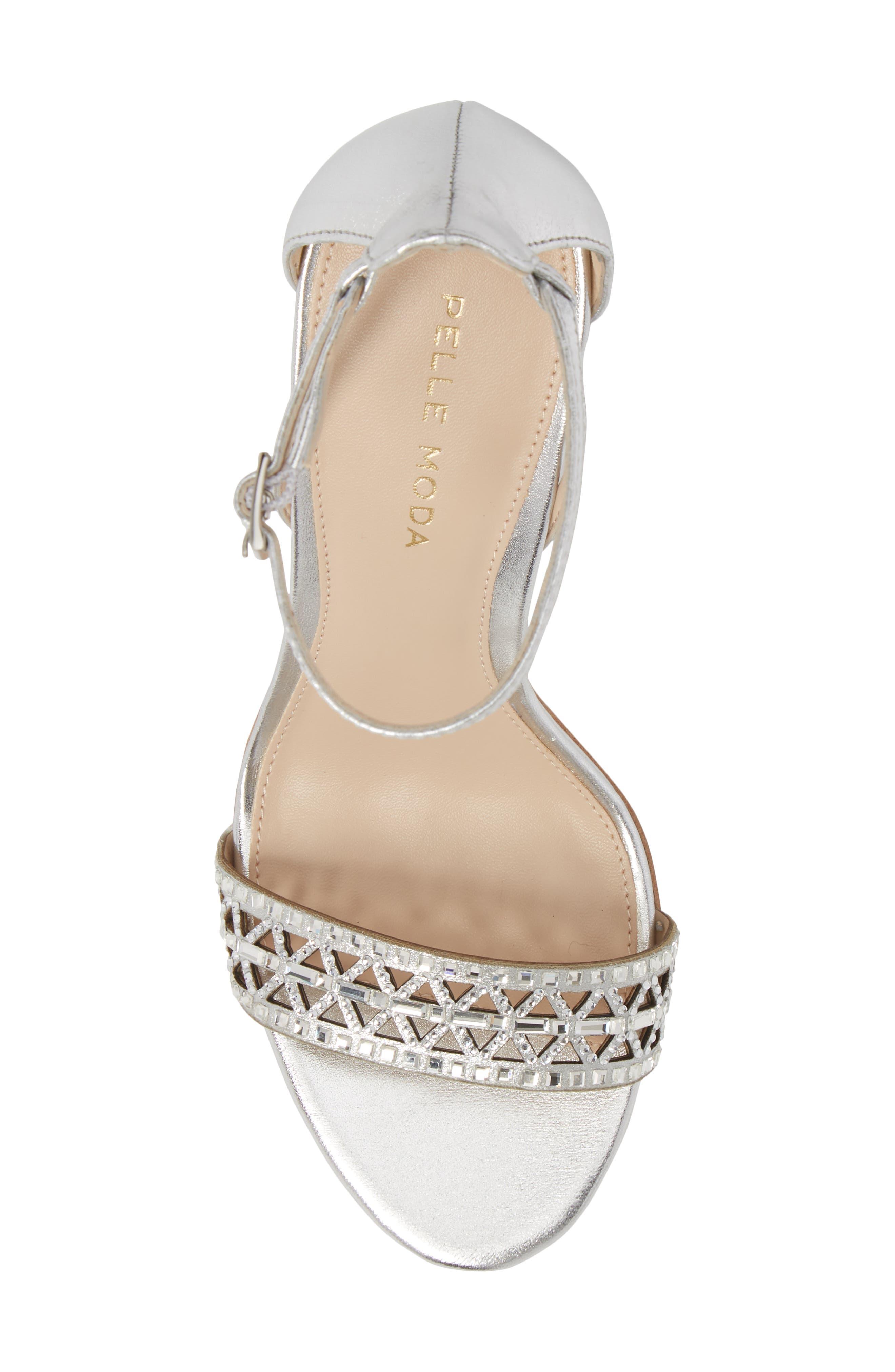 Karmina Embellished Sandal,                             Alternate thumbnail 5, color,                             Silver Leather