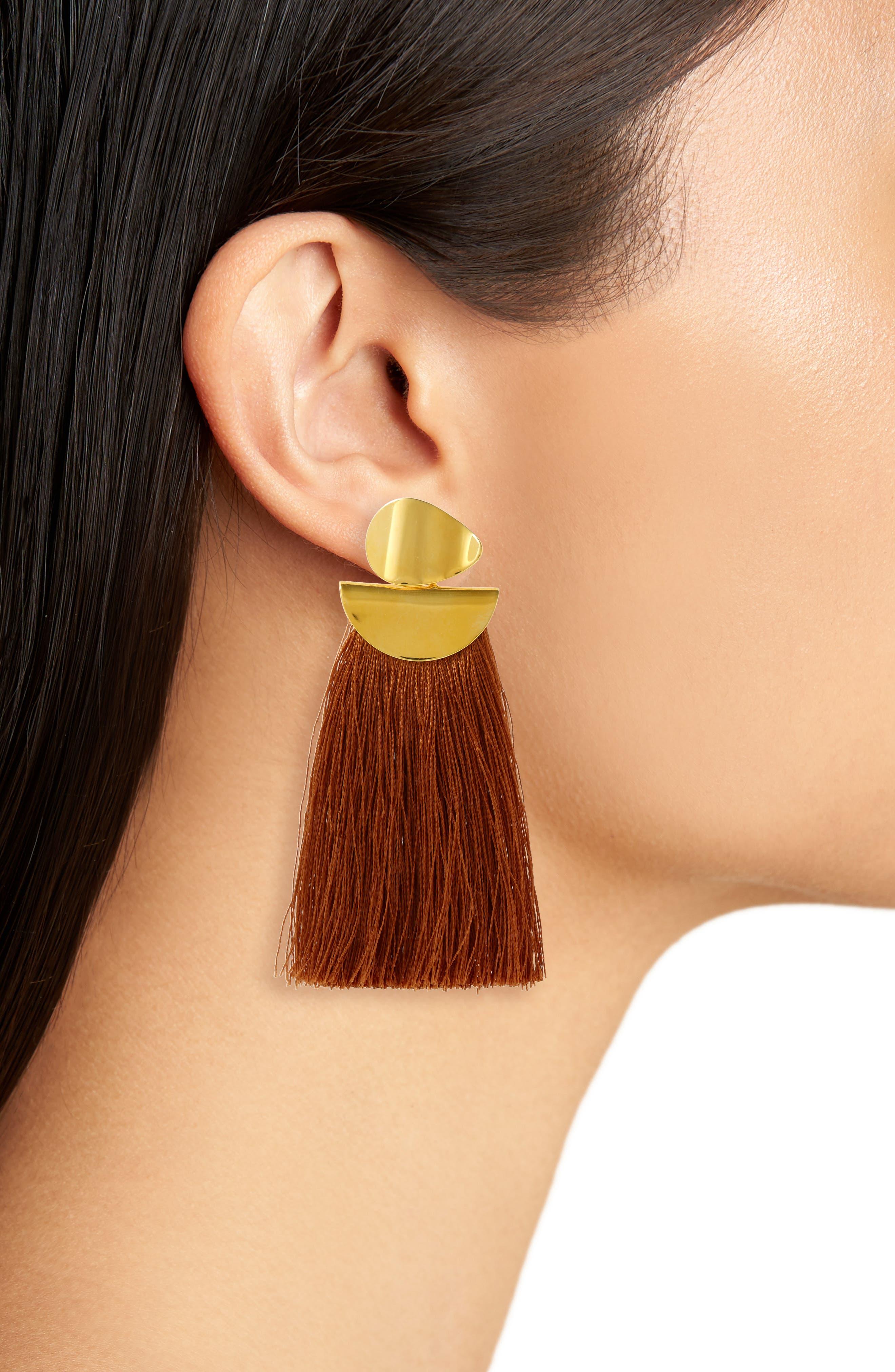 Crater Silk Tassel Earrings,                             Alternate thumbnail 2, color,                             Camel