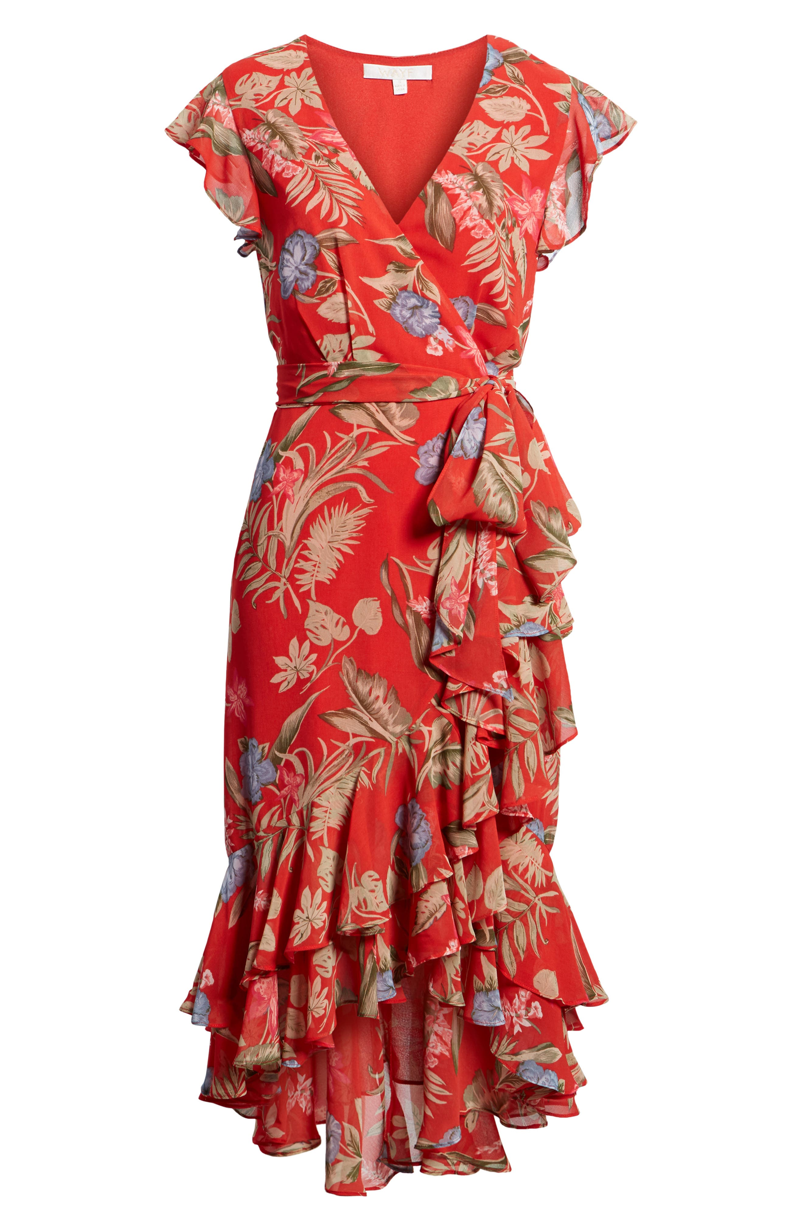 Clara Ruffle Wrap Dress,                             Alternate thumbnail 6, color,                             Red Tropical