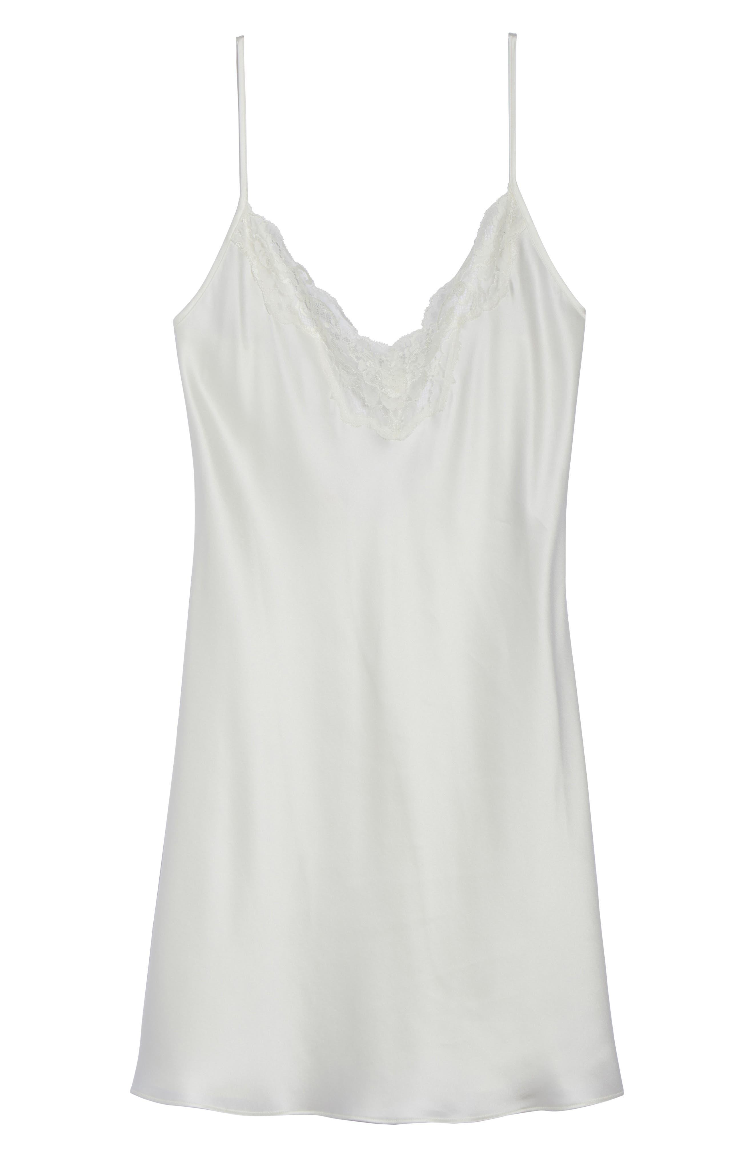 Lace Trim Silk Chemise,                             Alternate thumbnail 6, color,                             Pearl / Pearl