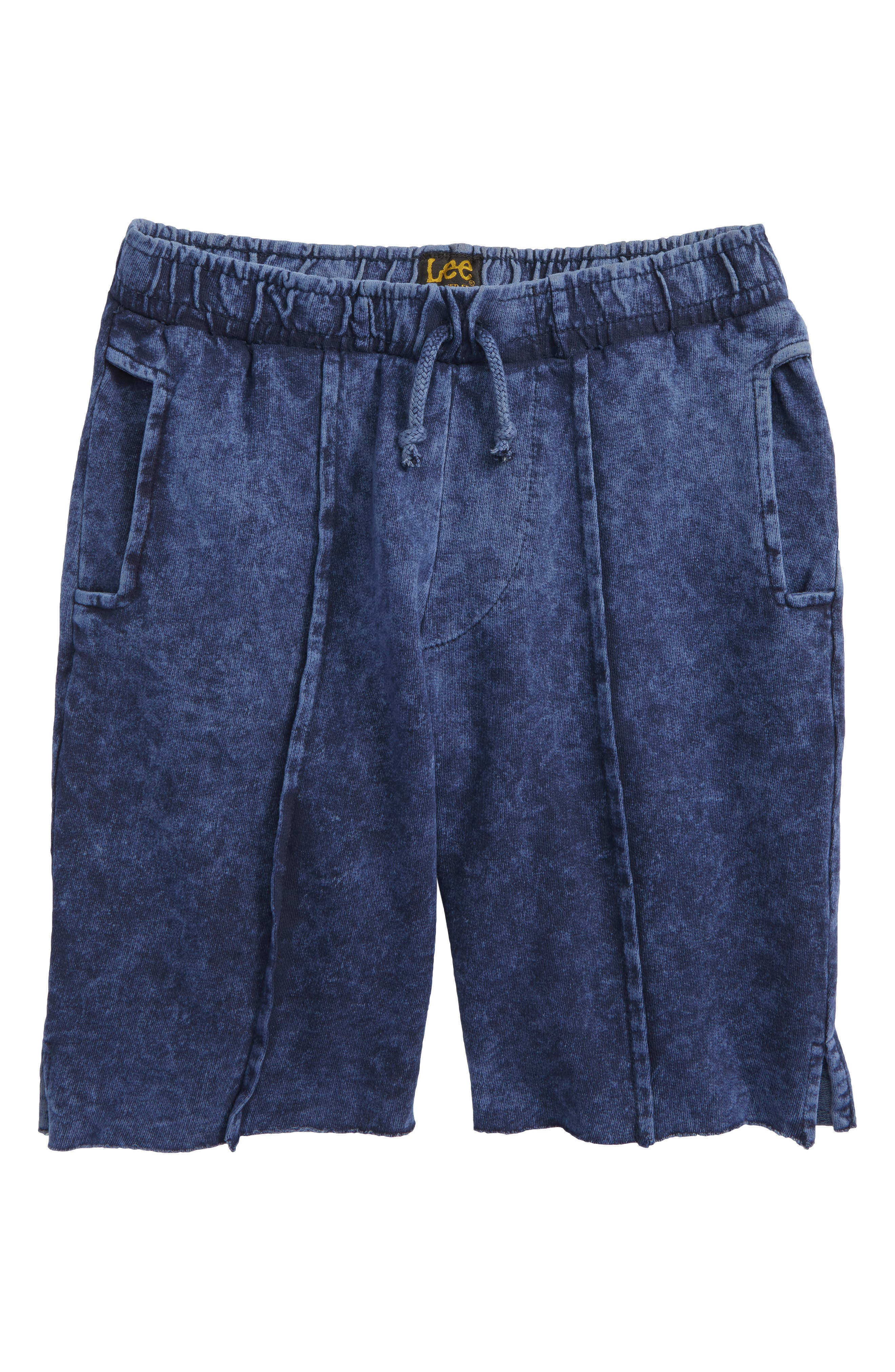 Acid Wash Pull-On Denim Shorts,                             Main thumbnail 1, color,                             Navy