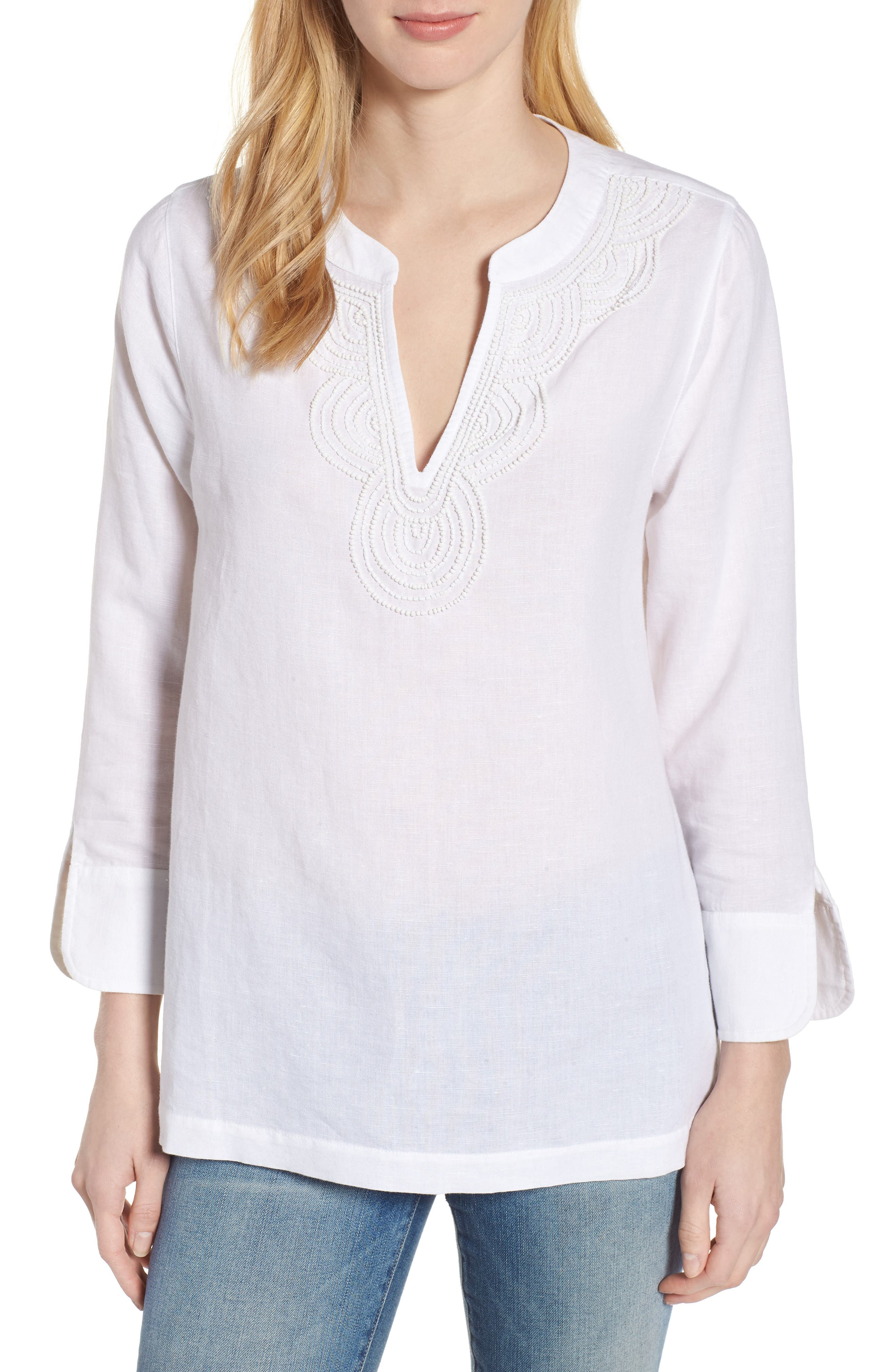 Embellished Tunic Top,                             Main thumbnail 1, color,                             White Cap