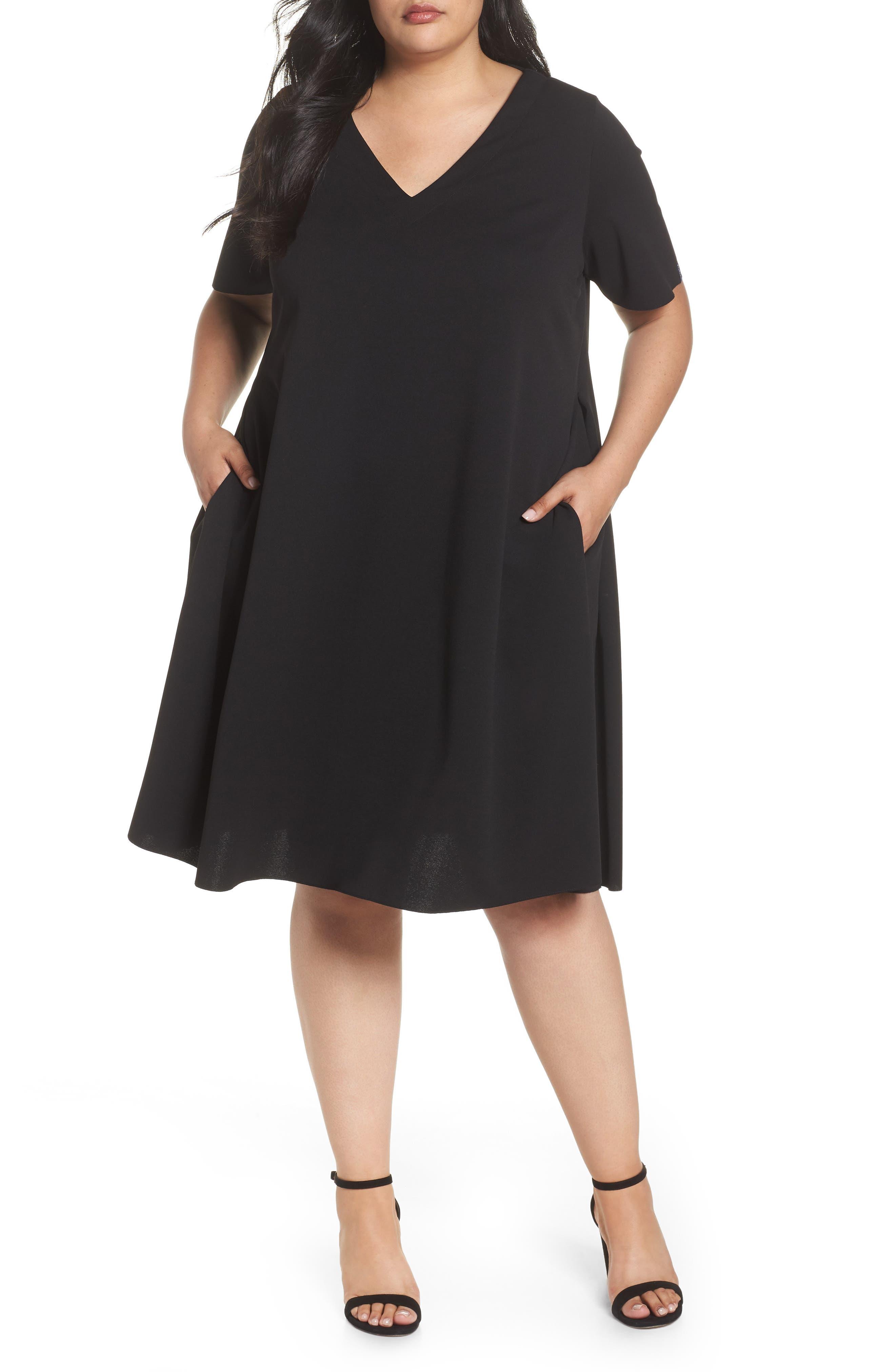 Short Sleeve Knit Dress,                             Main thumbnail 1, color,                             Black