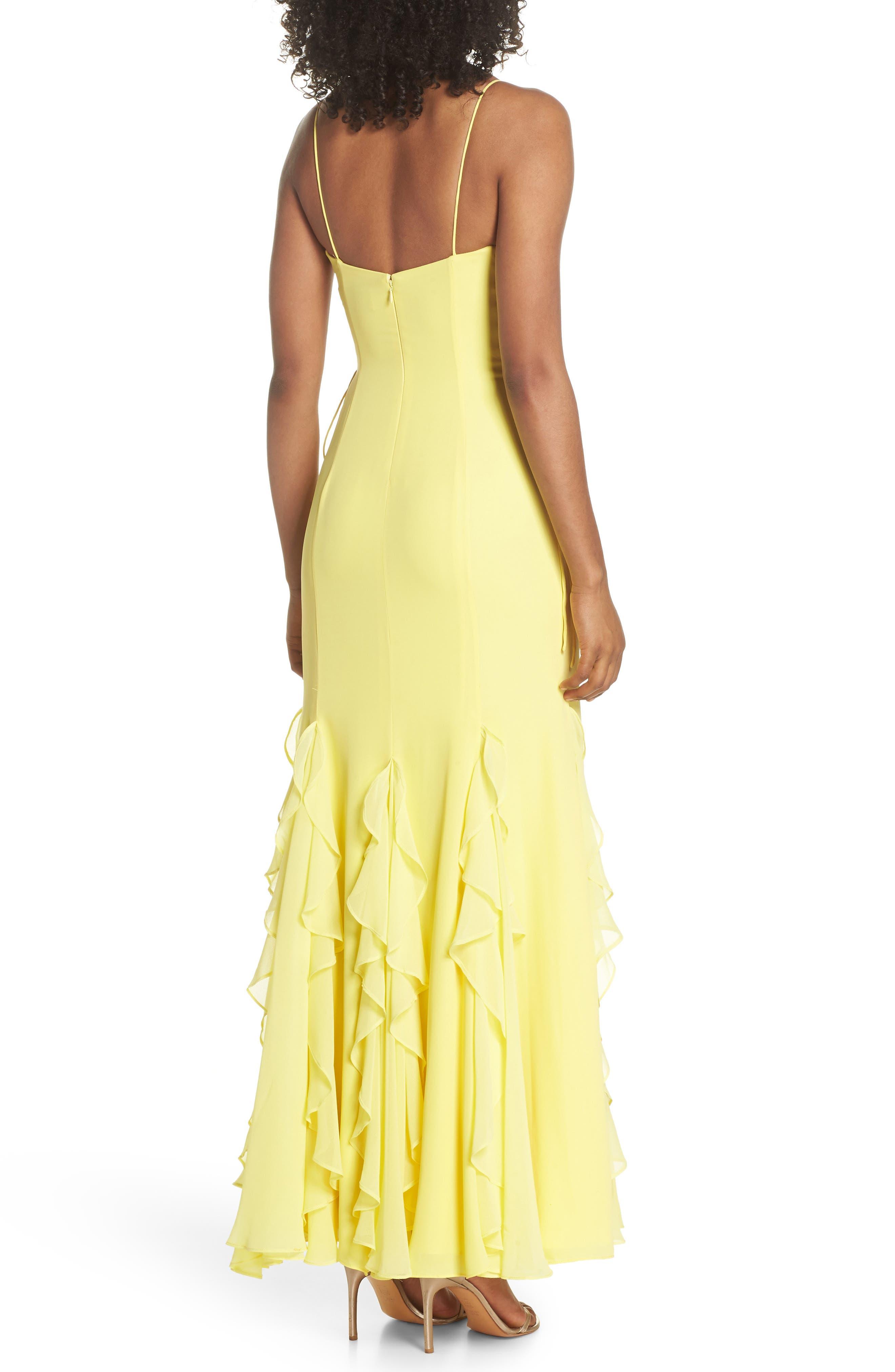 Lara Lace-Up Georgette Gown,                             Alternate thumbnail 2, color,                             Lemon