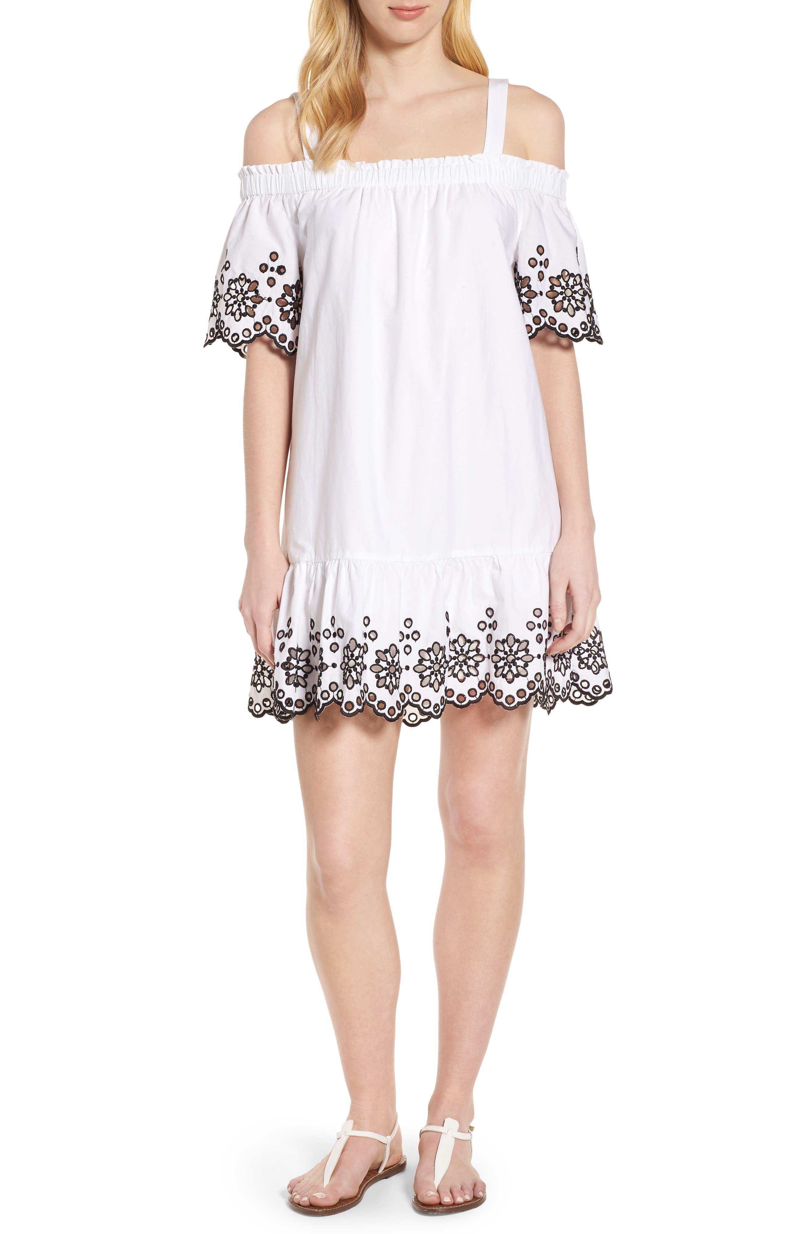 Off The Shoulder Eyelet Dress,                         Main,                         color, White Cap