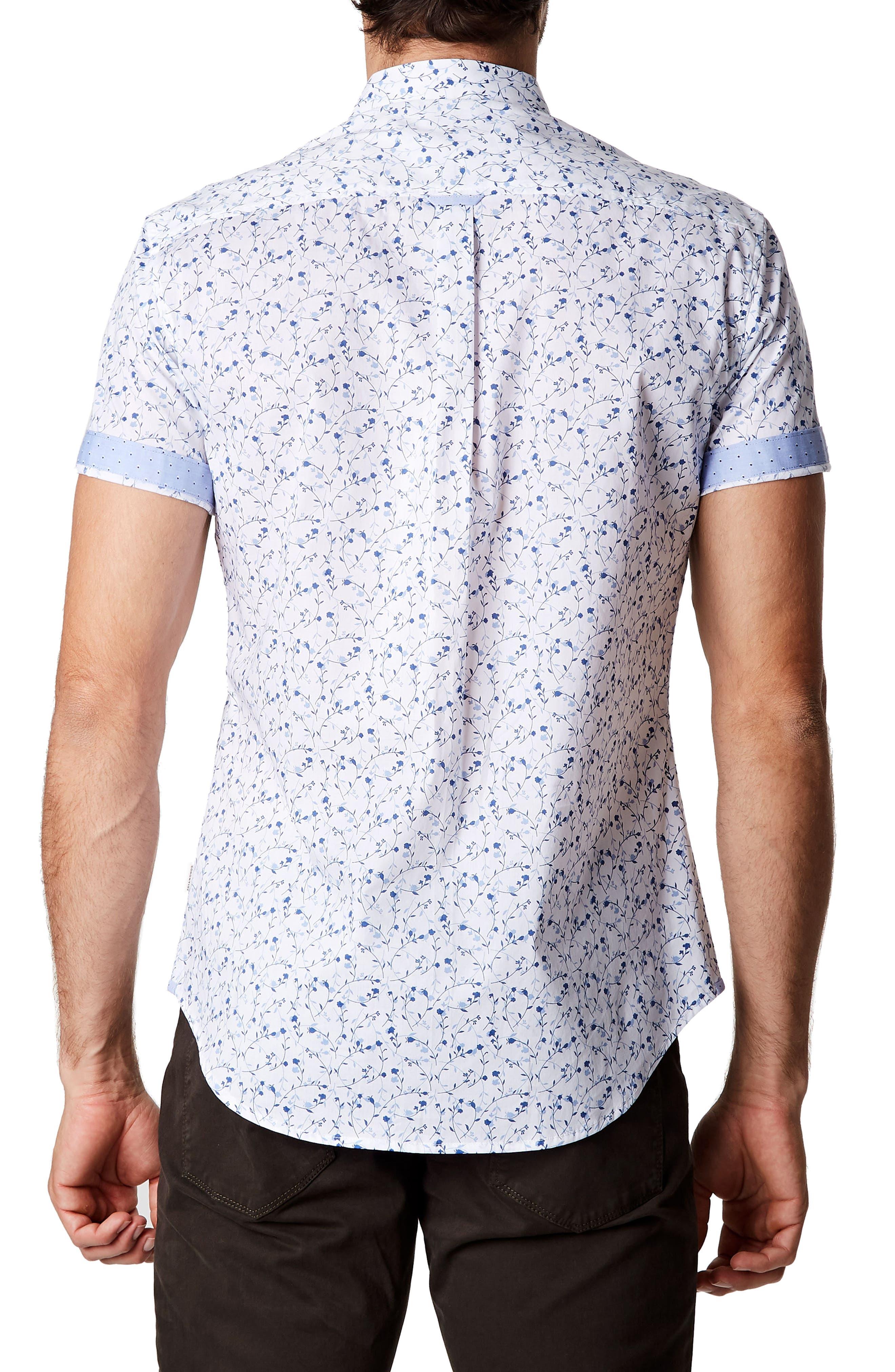 Mind Gardens Floral Sport Shirt,                             Alternate thumbnail 2, color,                             White
