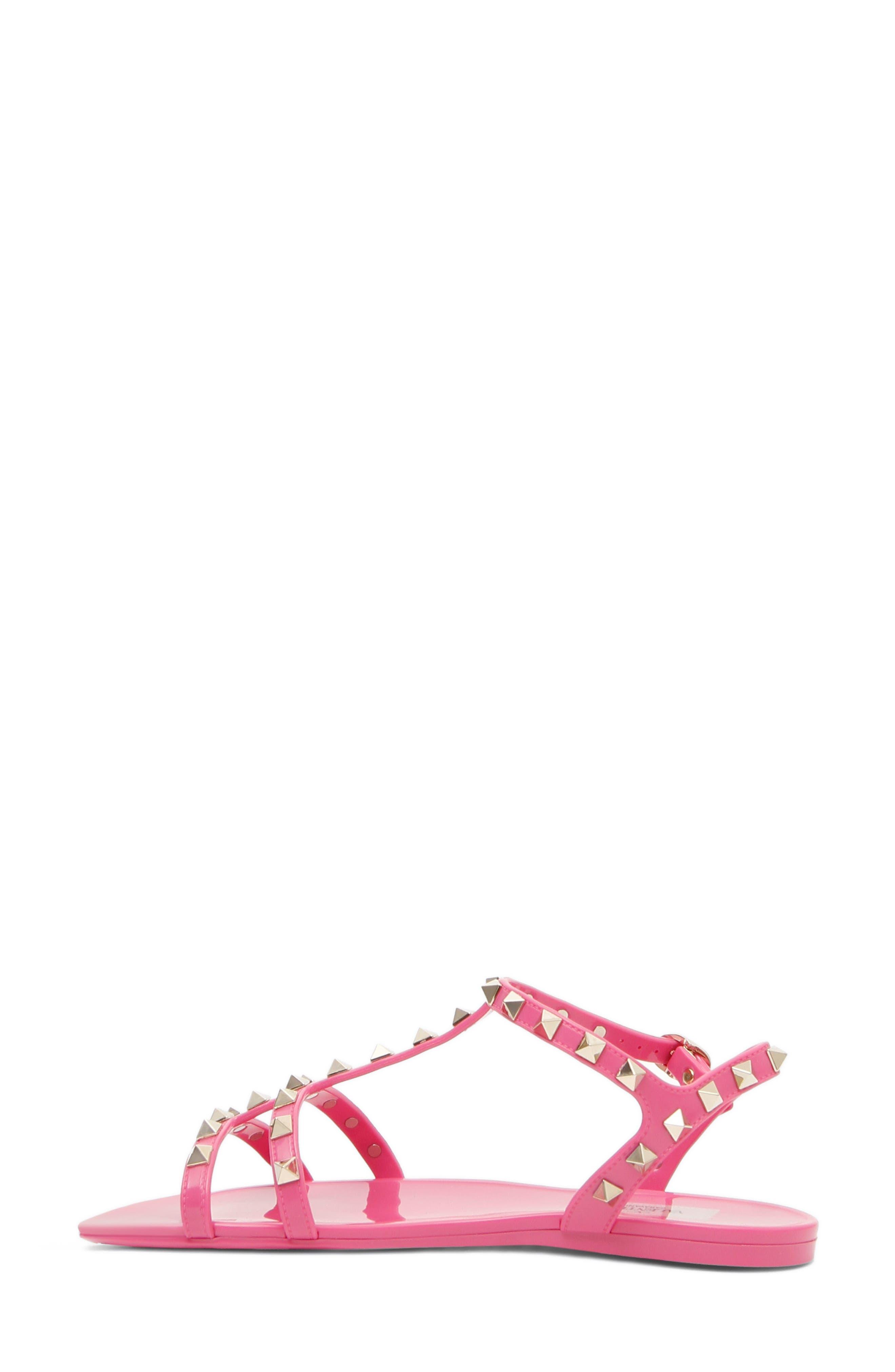 Rockstud T-Strap Sandal,                             Alternate thumbnail 2, color,                             Pink