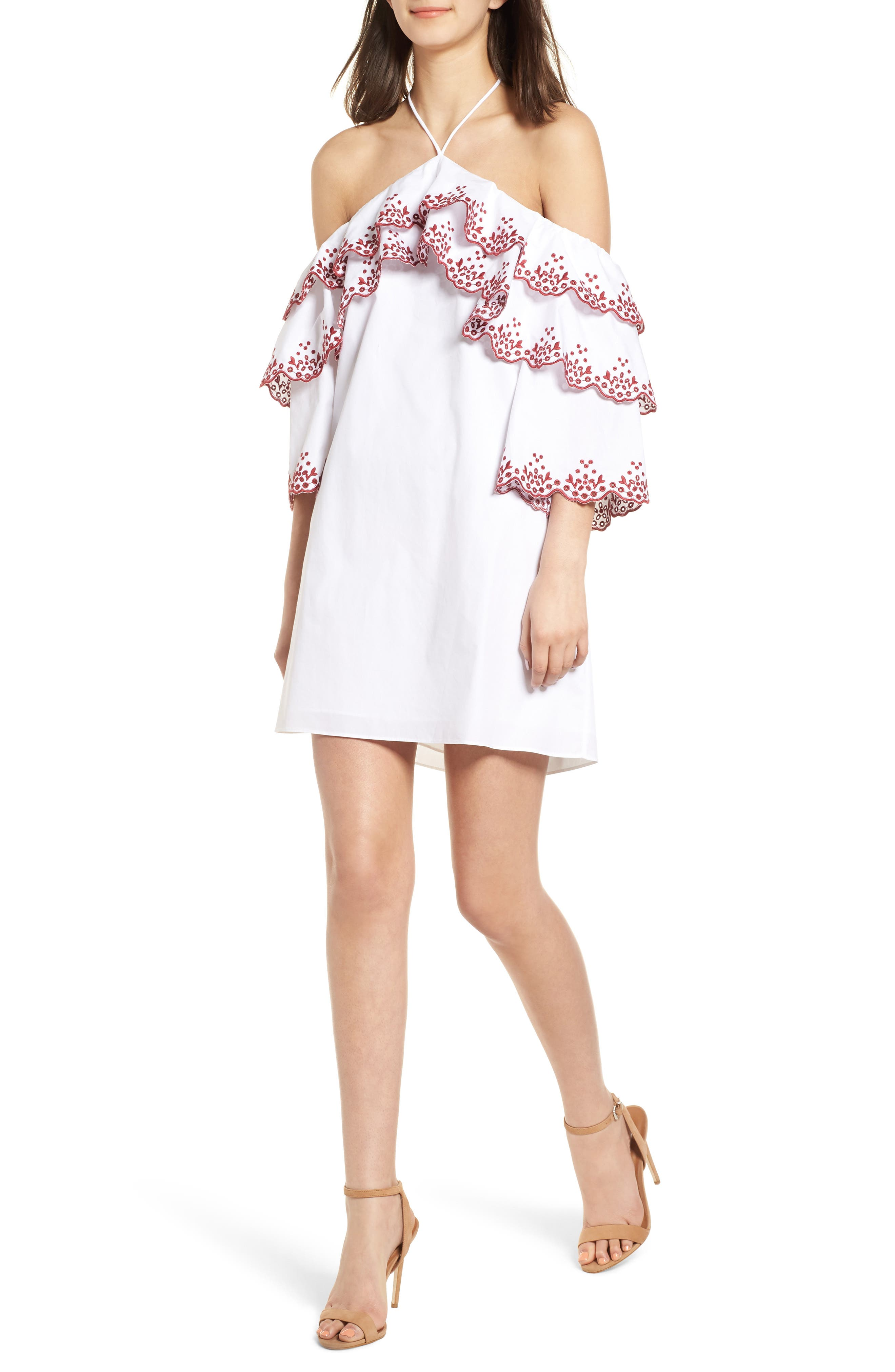 Dena Halter Dress,                         Main,                         color, White/ Red