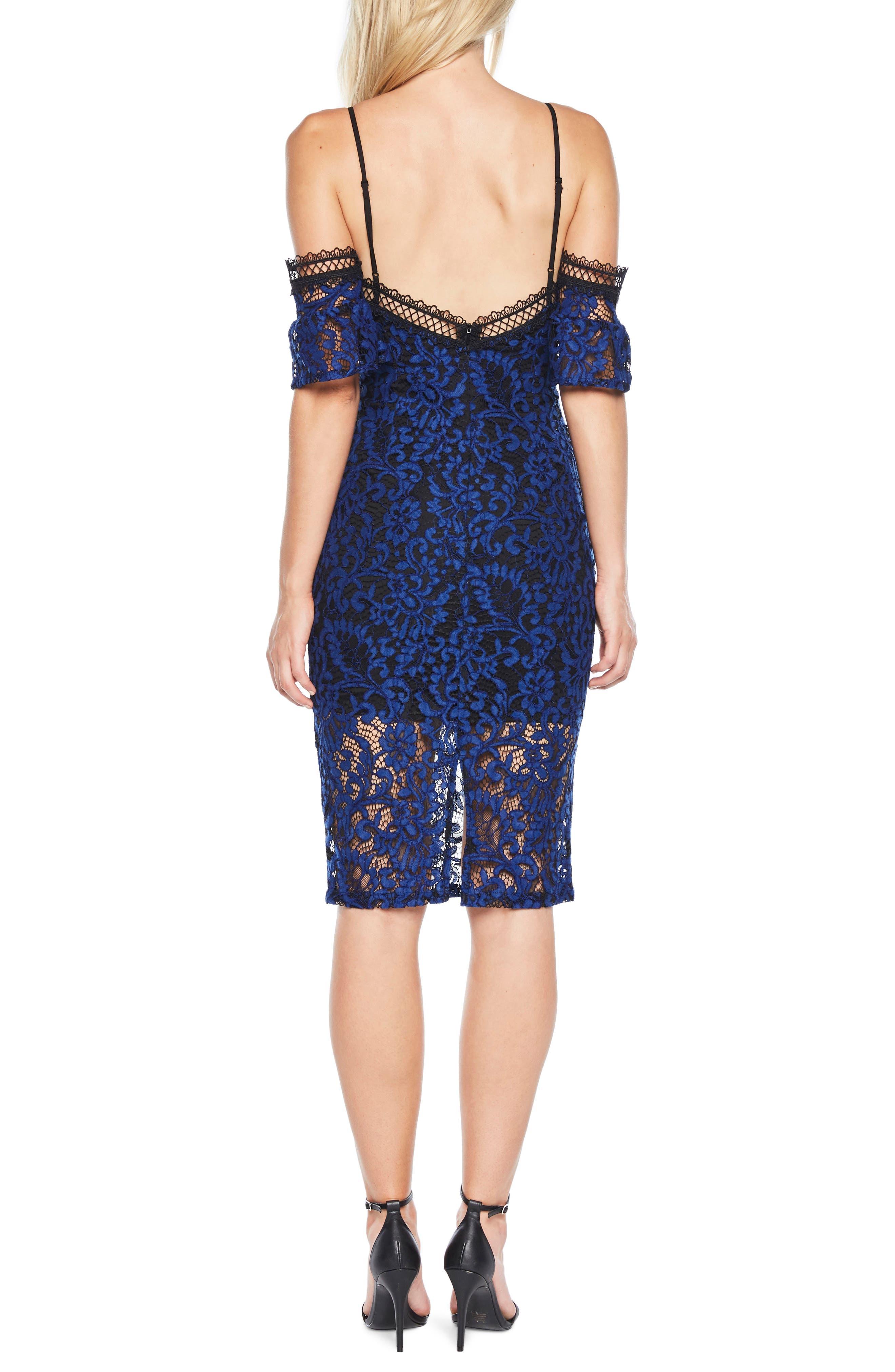 Taegen Cold Shoulder Lace Dress,                             Alternate thumbnail 3, color,                             Navy
