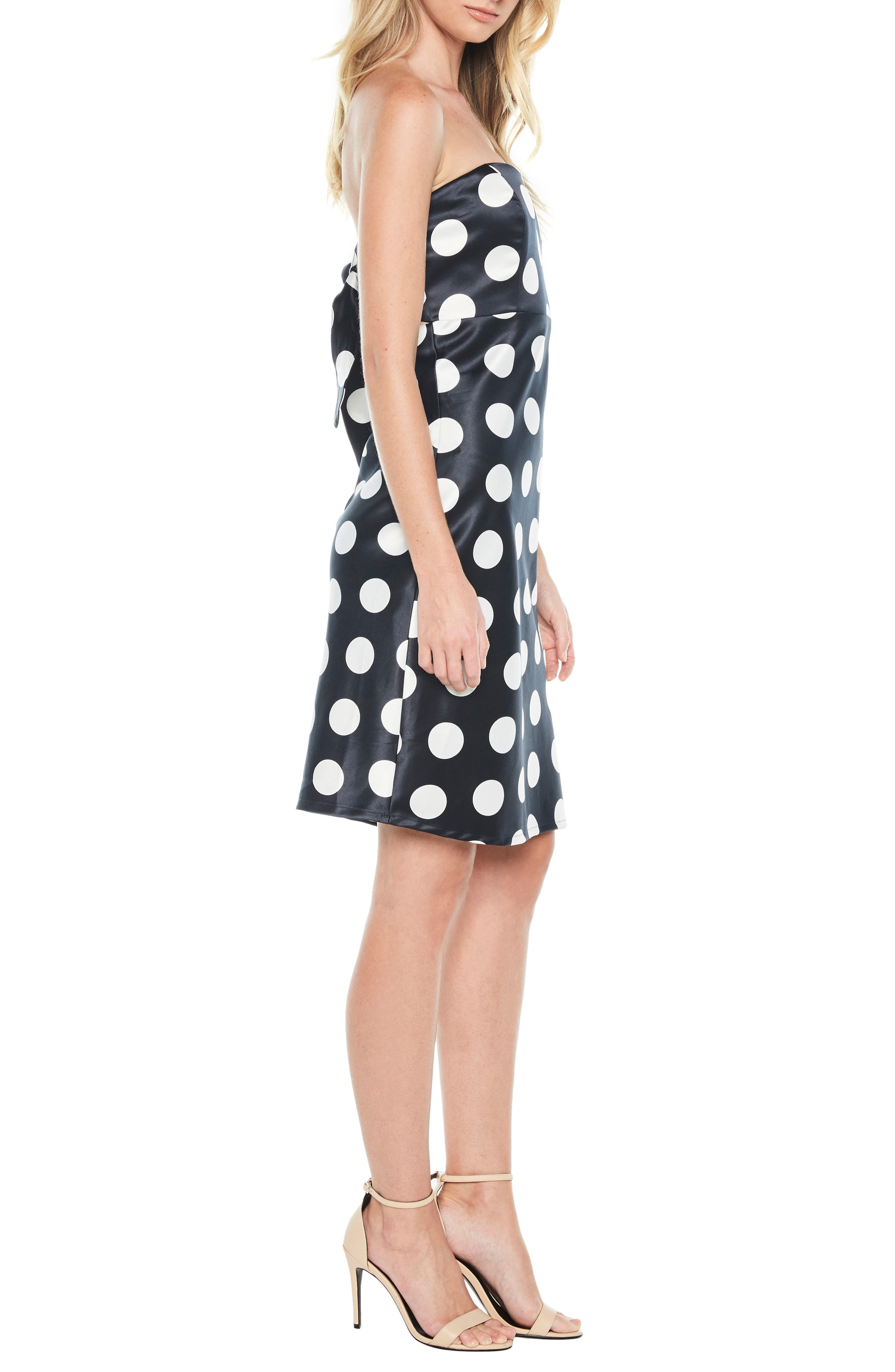 Sayer Dotted Tie Back Strapless Dress,                             Alternate thumbnail 3, color,                             Navy Spot