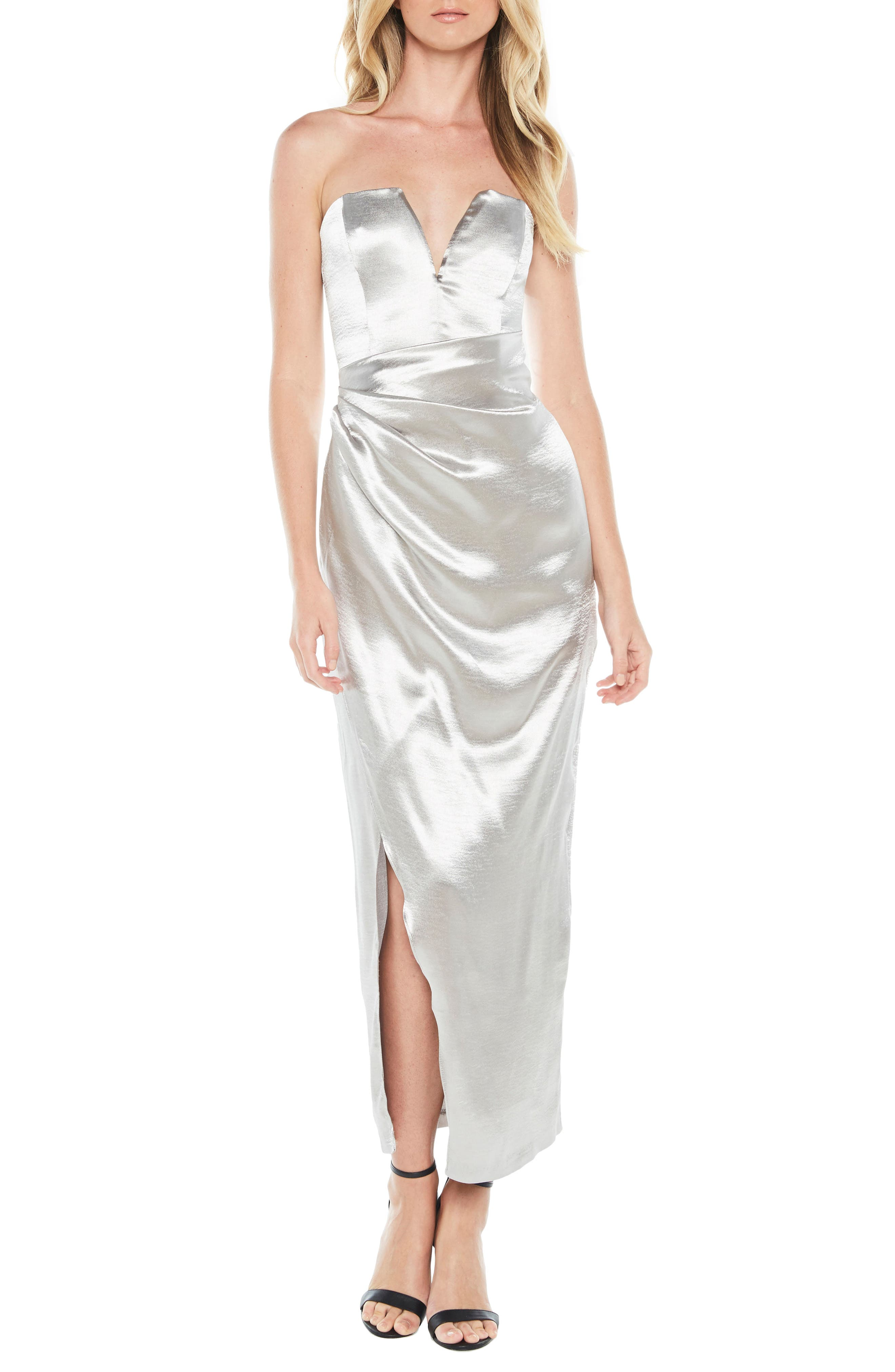 Eri Strapless Satin Gown,                             Main thumbnail 1, color,                             Silver