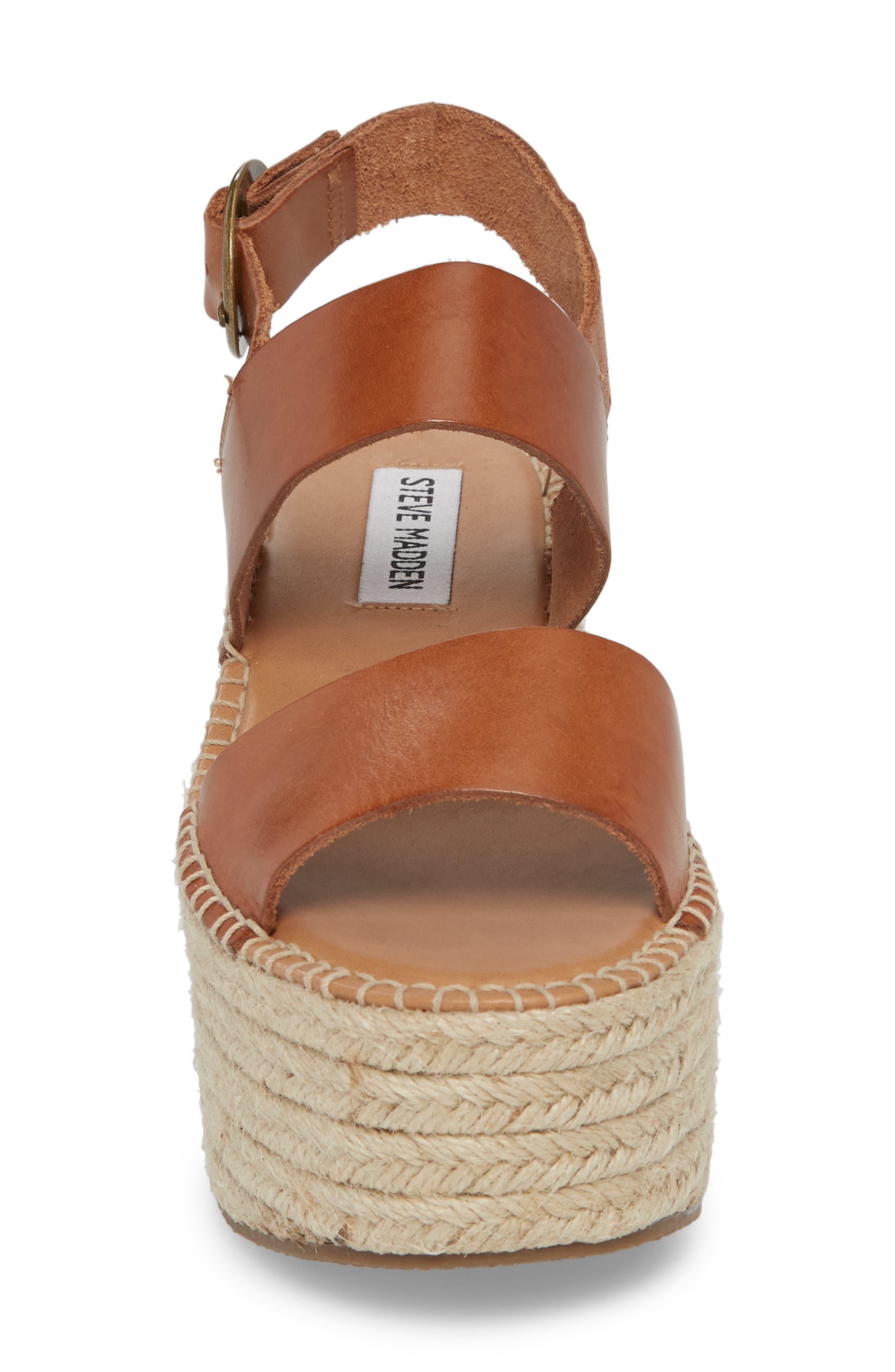 Cali Espadrille Platform Sandal,                             Alternate thumbnail 4, color,                             Cognac Leather