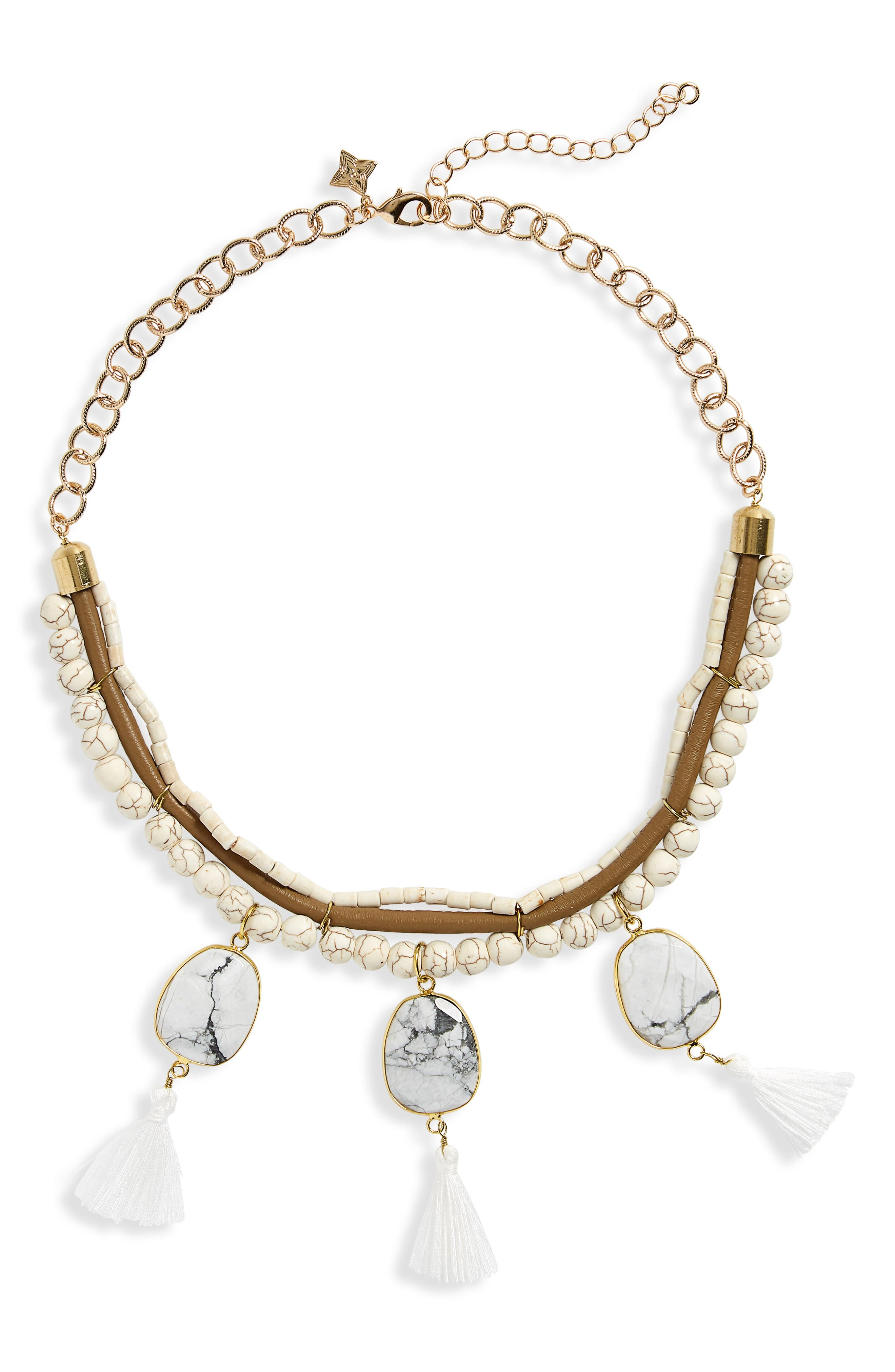 Bead & Tassel Collar Necklace,                         Main,                         color, White