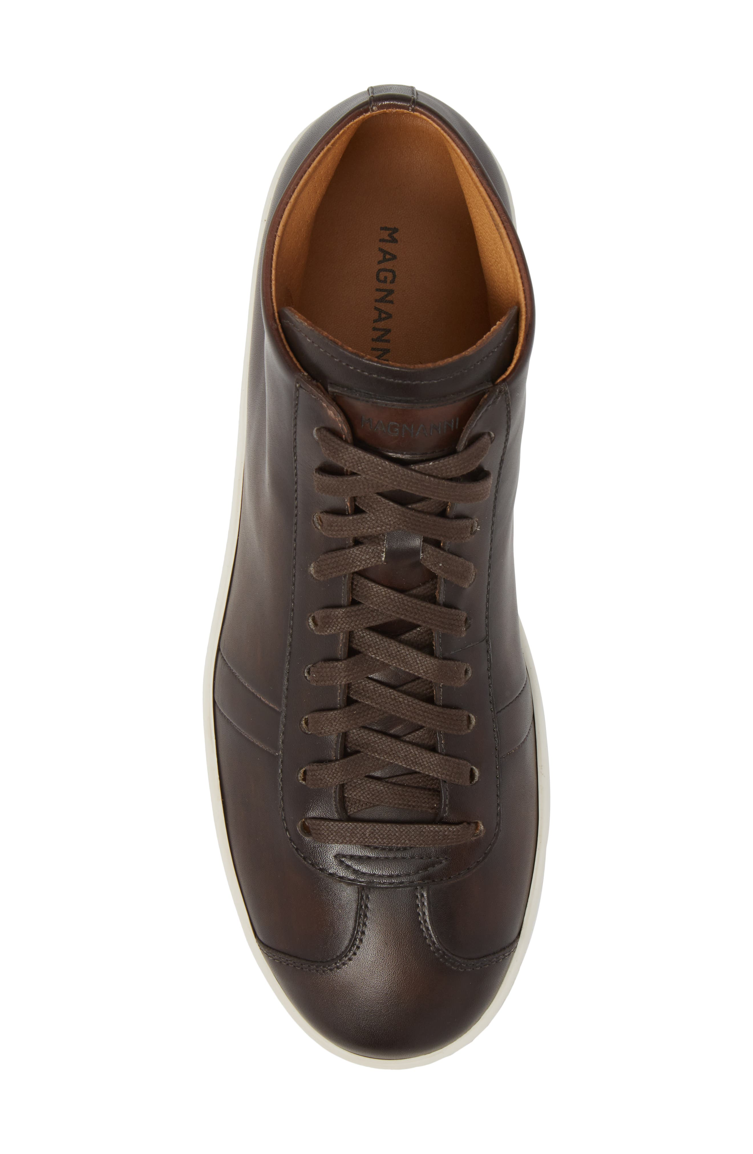 Gunner Mid Top Sneaker,                             Alternate thumbnail 5, color,                             Brown Leather