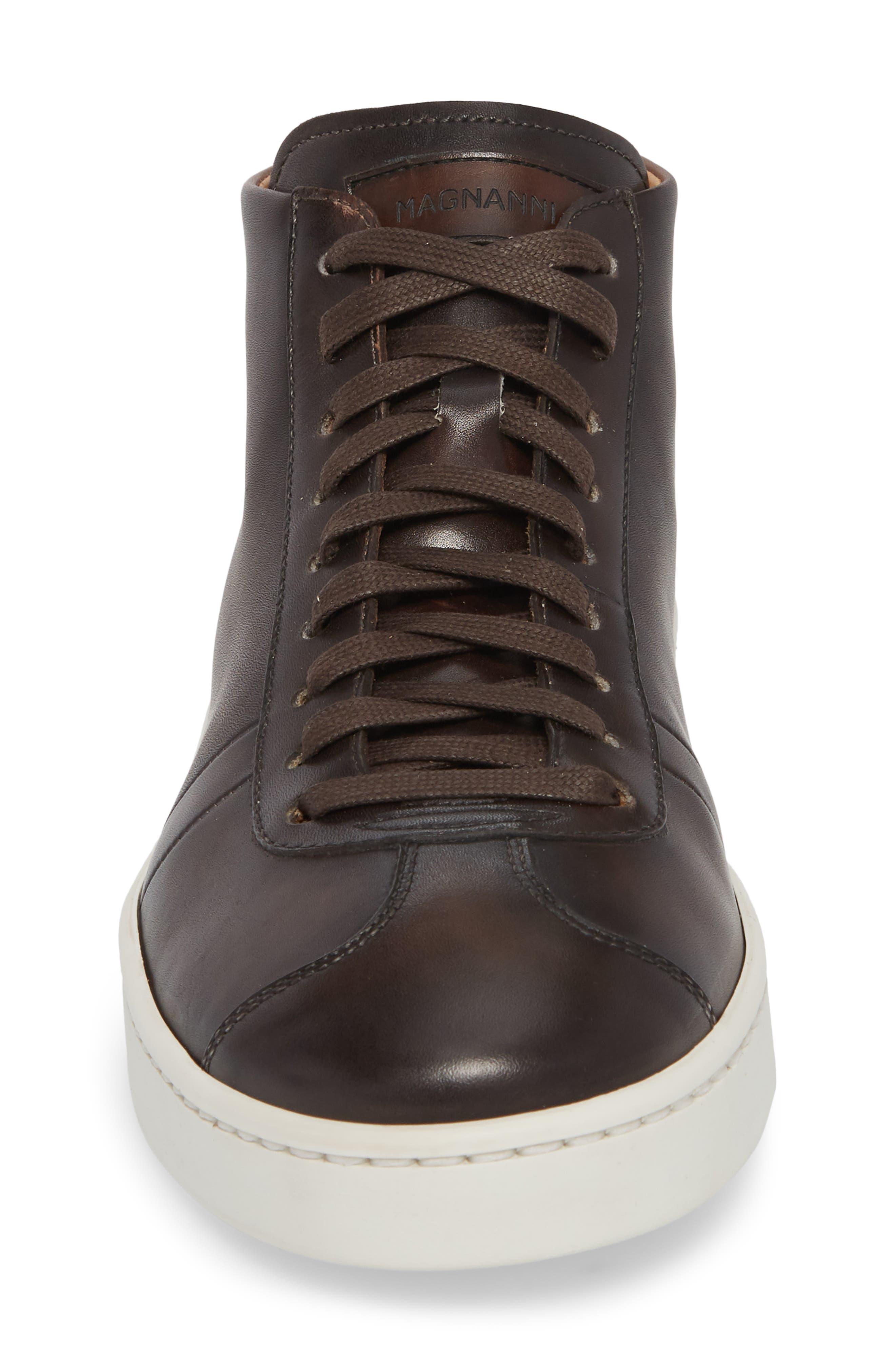 Gunner Mid Top Sneaker,                             Alternate thumbnail 4, color,                             Brown Leather
