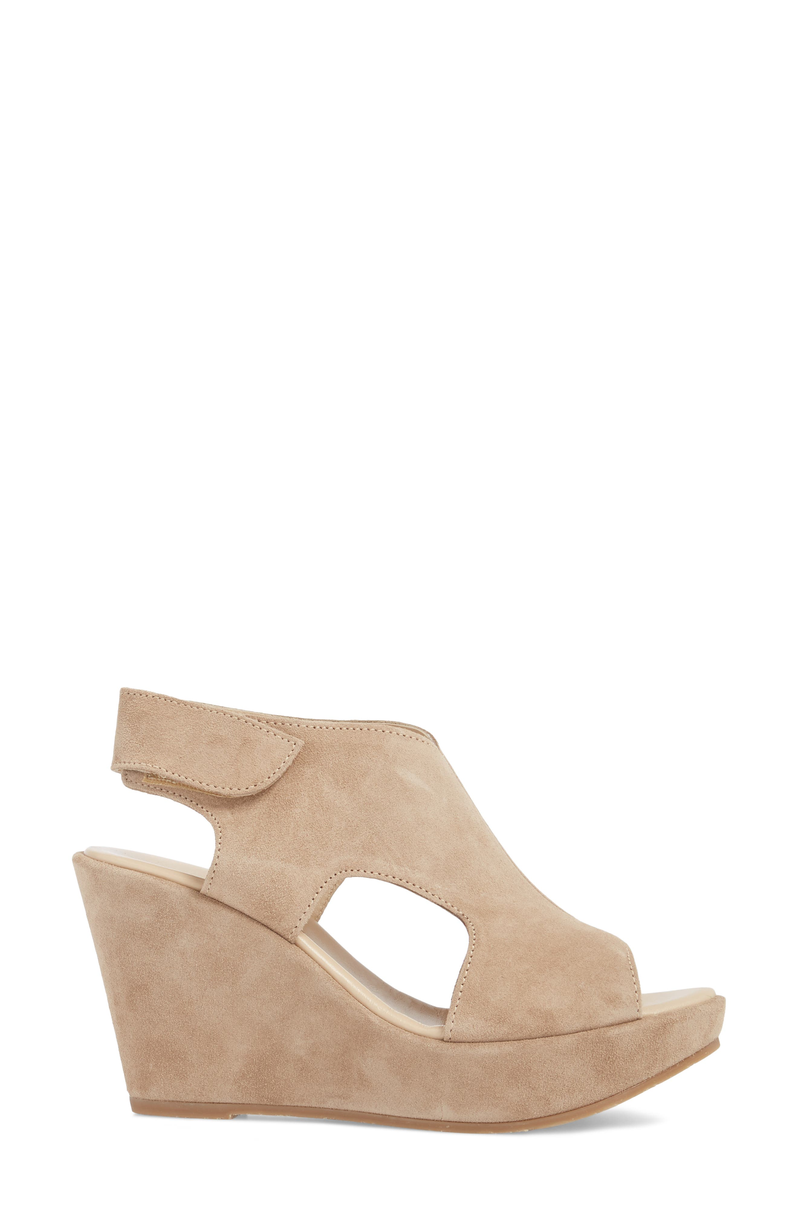 Reed Wedge Sandal,                             Alternate thumbnail 3, color,                             Corda Taupe Suede