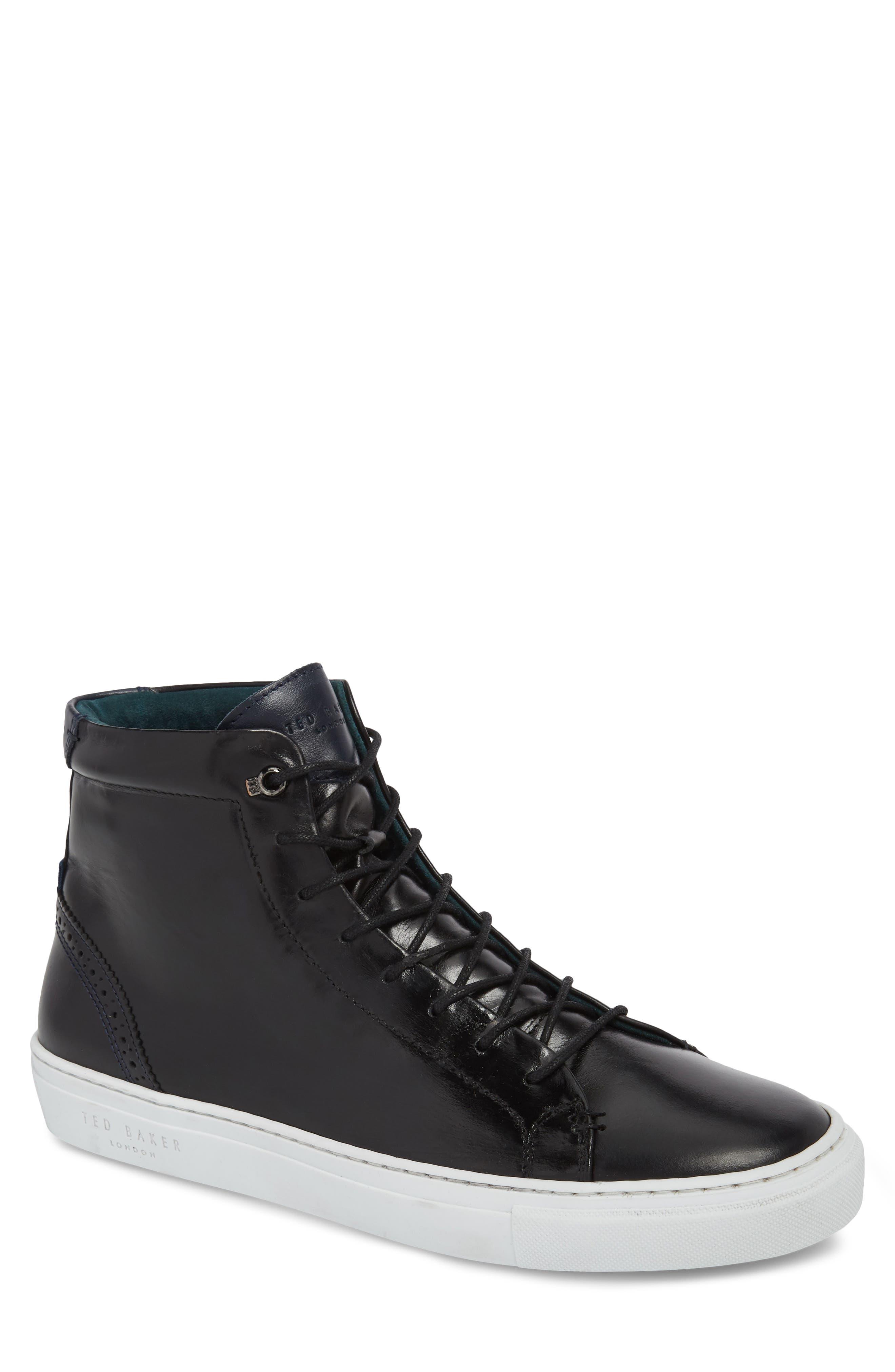 Monerkk High Top Sneaker,                         Main,                         color, Black Leather