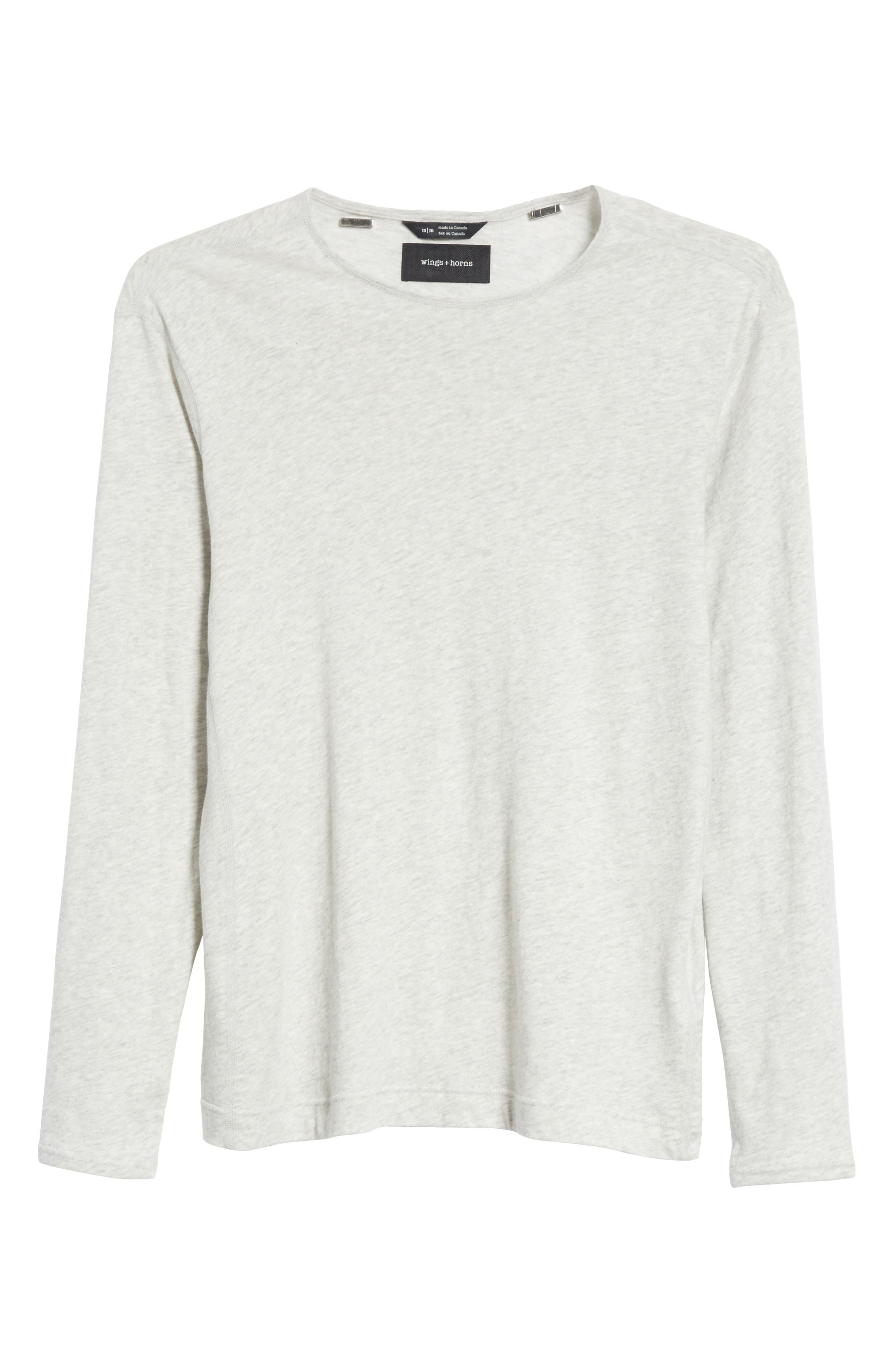 Linen Blend Jersey Long Sleeve T-Shirt,                             Alternate thumbnail 8, color,                             Natural