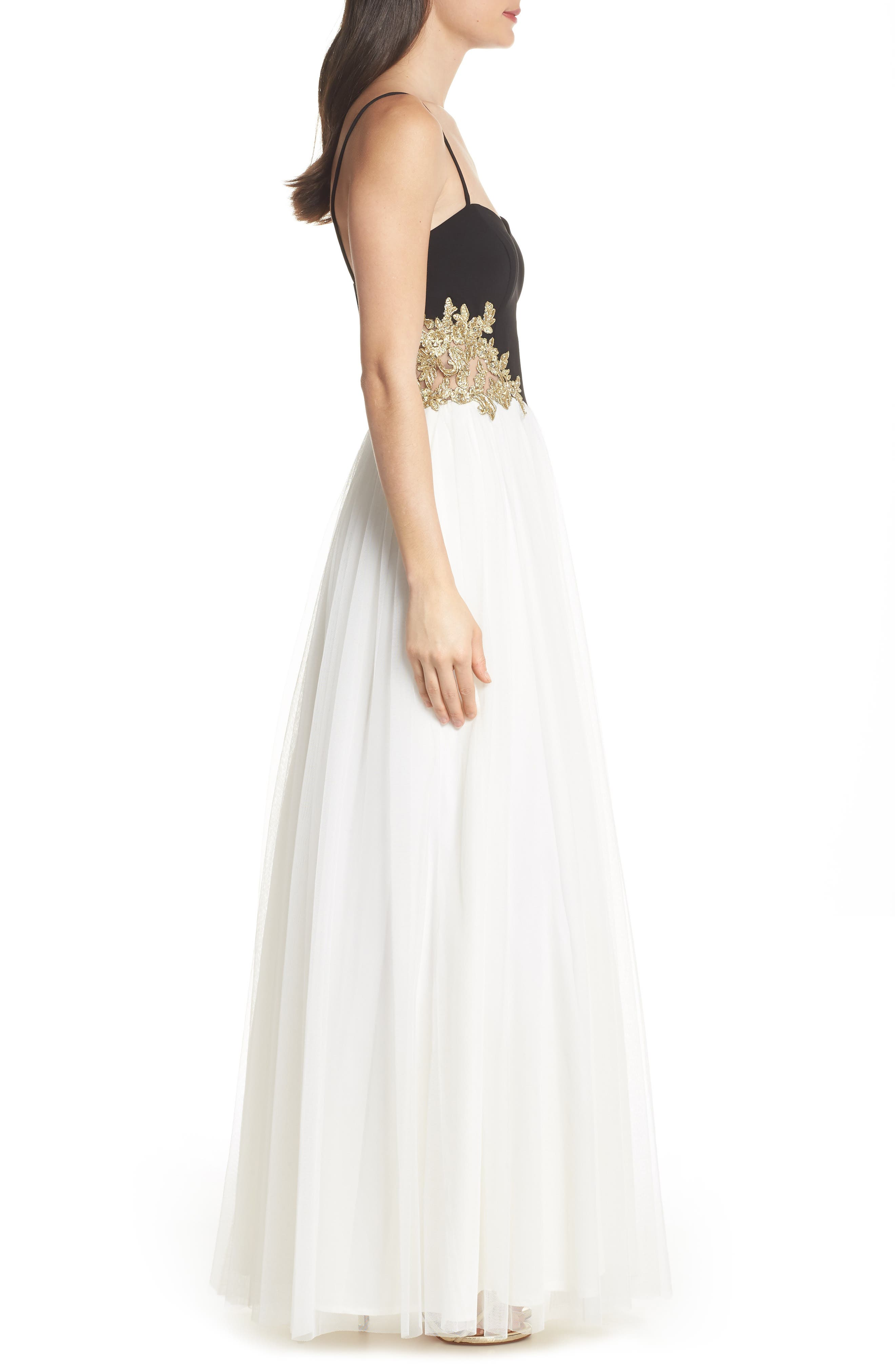 Blondie Nights Embellished Tulle Gown,                             Alternate thumbnail 3, color,                             Black/ Ivory/ Gold