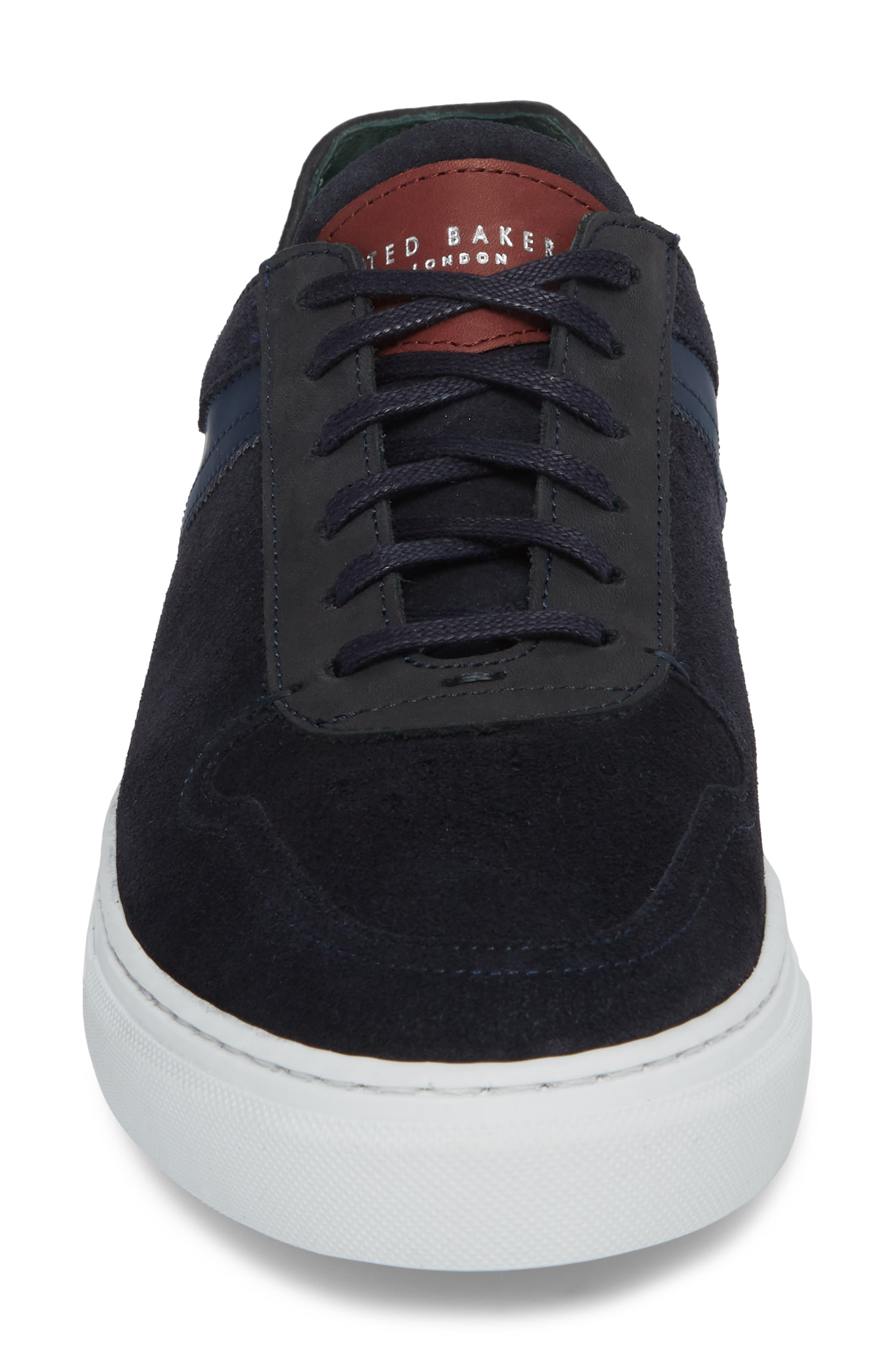 Burall Sneaker,                             Alternate thumbnail 4, color,                             Dark Blue Suede/ Textile