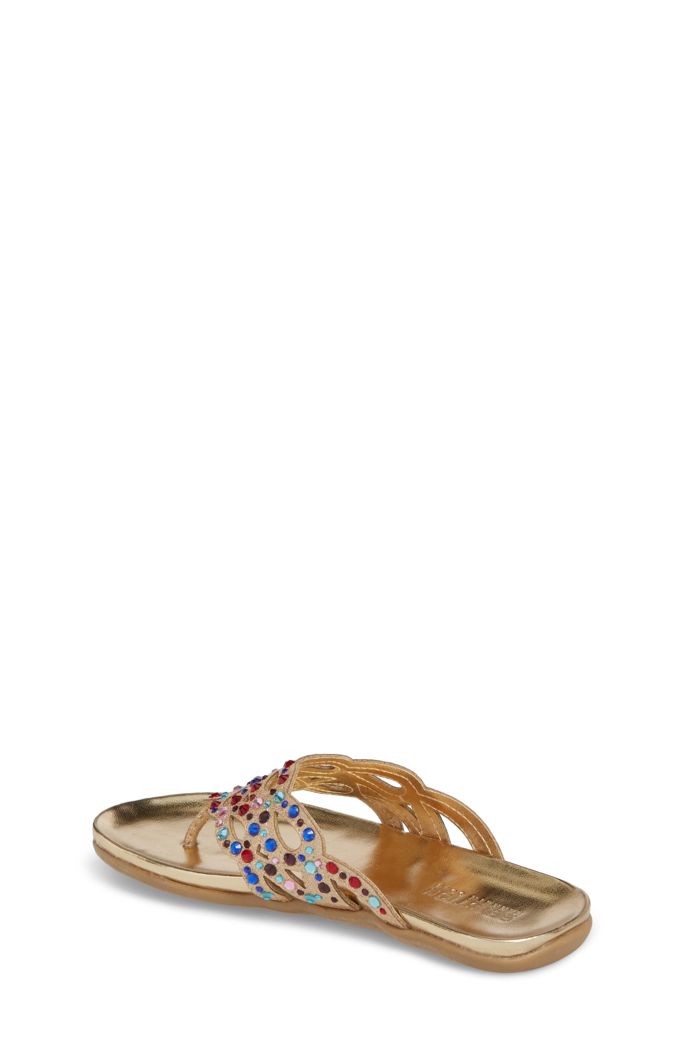 Kenneth Cole New York Flutter Metallic Crystal Thong Sandal,                             Alternate thumbnail 2, color,                             Gold Multi