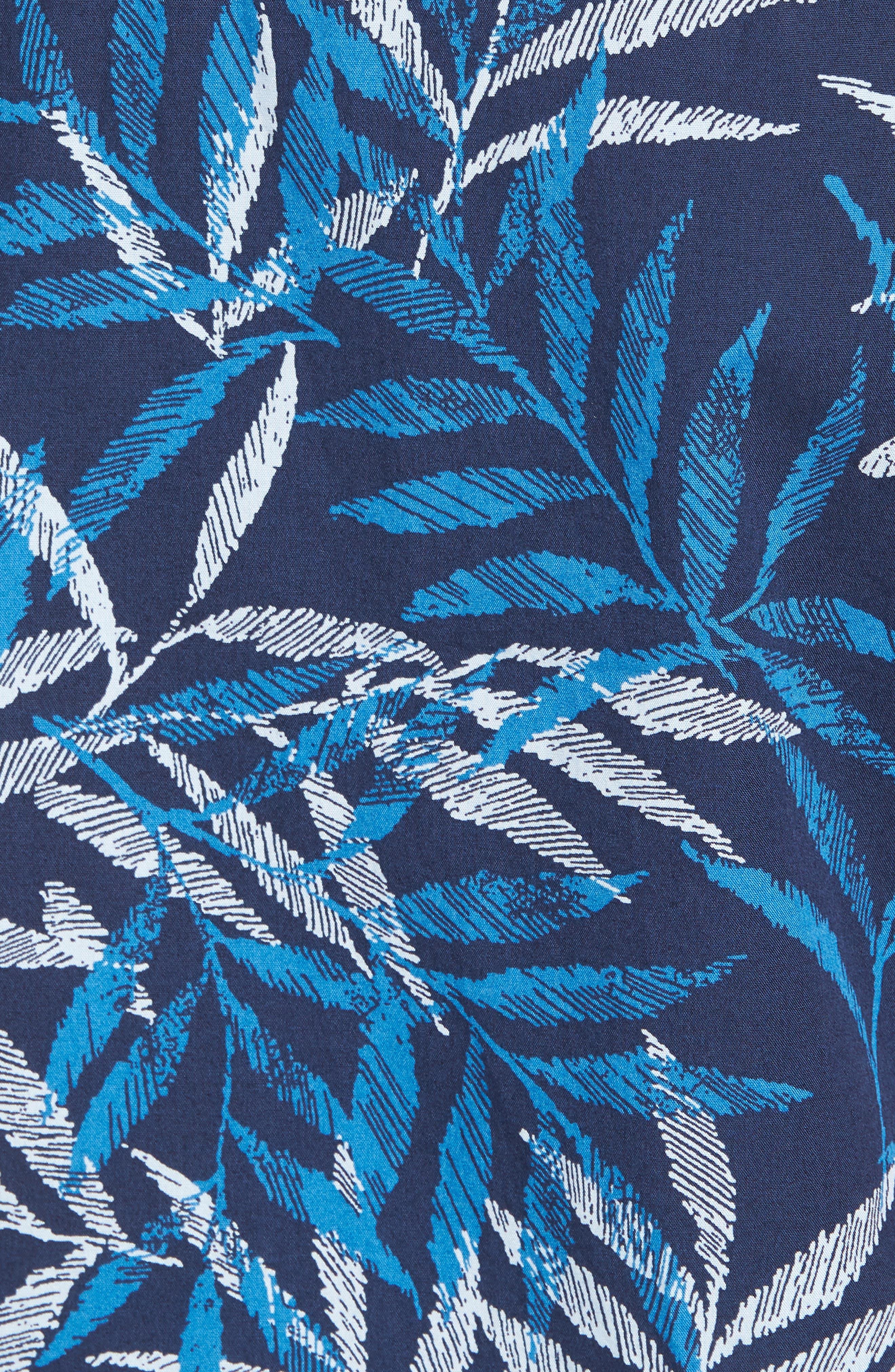 Trim Fit Print Short Sleeve Sport Shirt,                             Alternate thumbnail 5, color,                             Blue Dark Etched Leaves