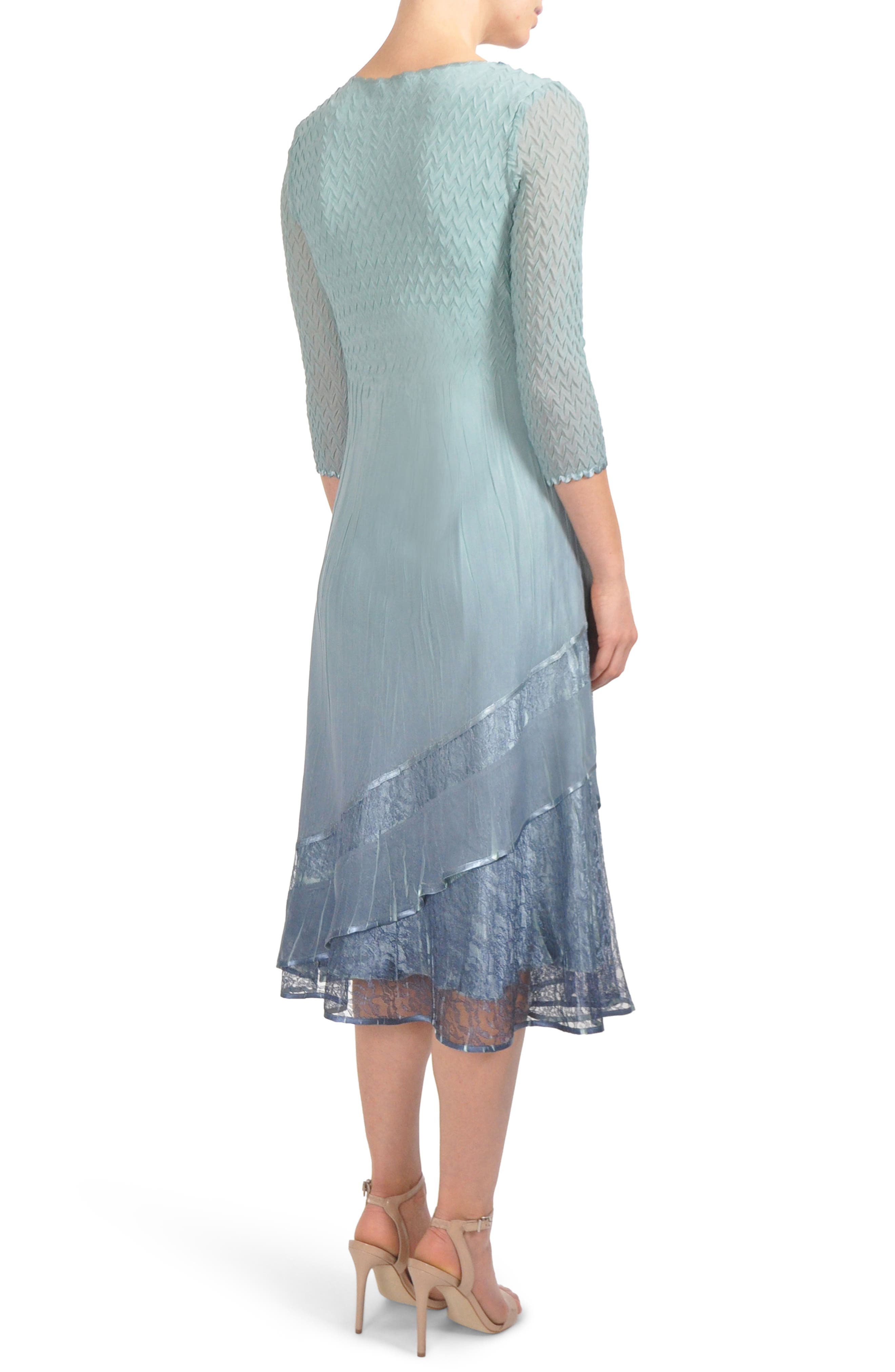Beaded Neck Tier Hem Dress,                             Alternate thumbnail 2, color,                             Ocean Blue Night Ombre