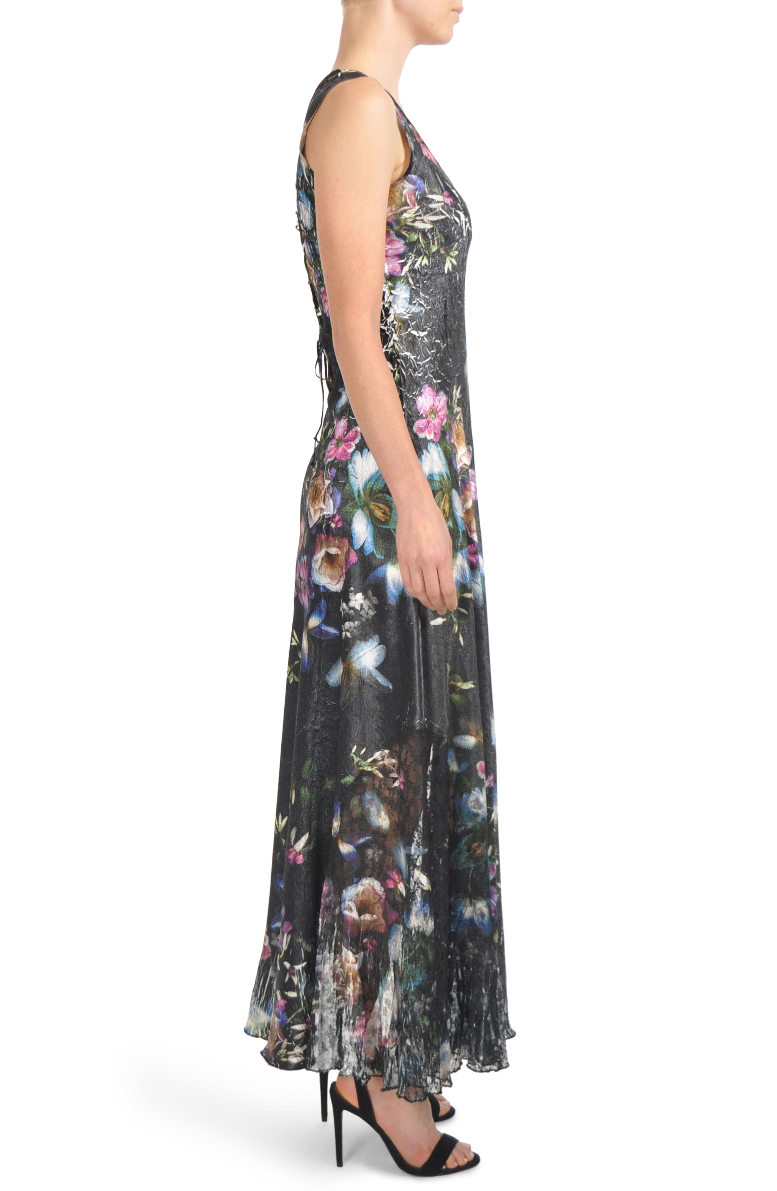 Floral Print Lace-Up Gown,                             Alternate thumbnail 3, color,                             Veiled Garden