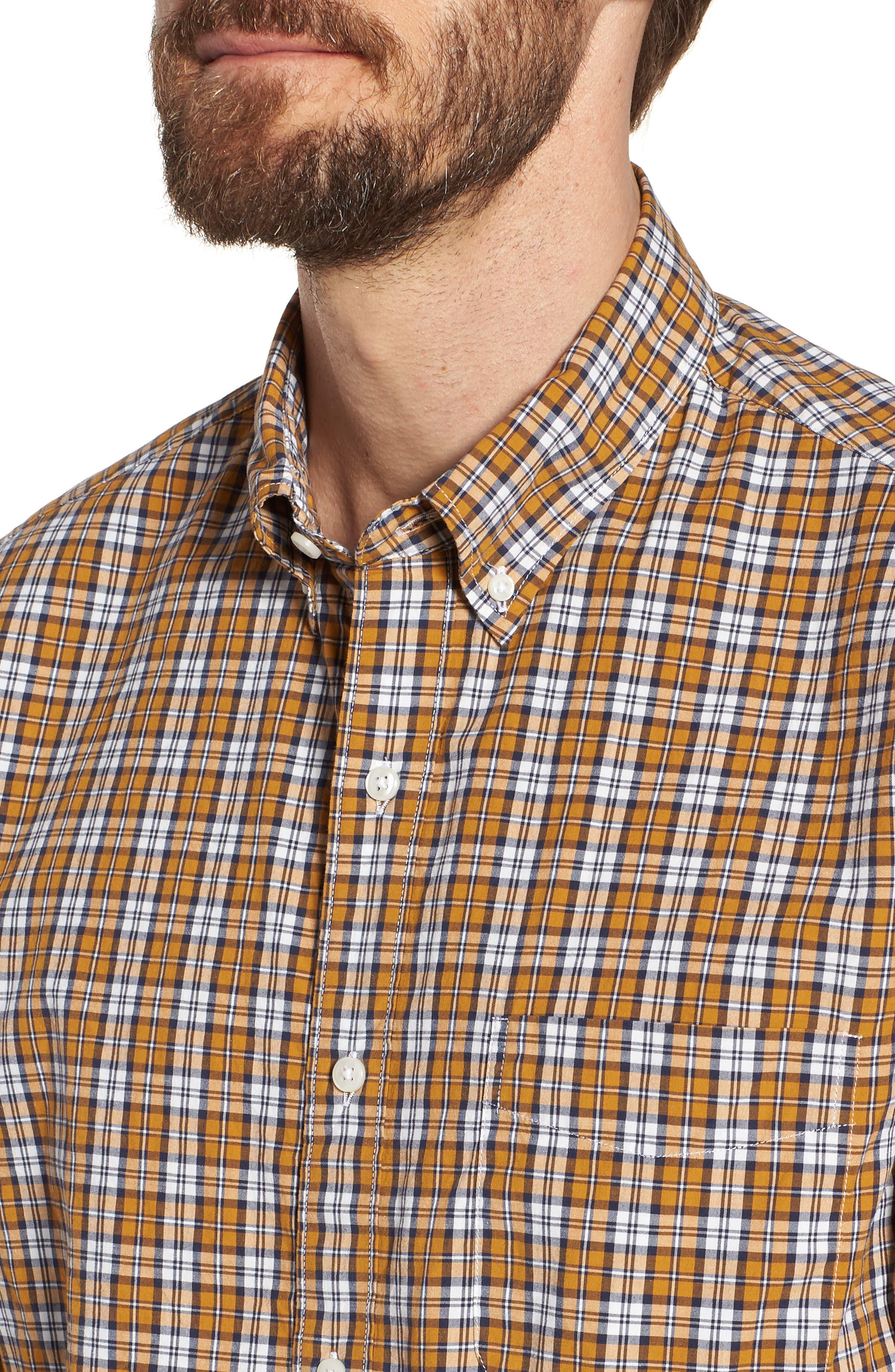 J.Crew Slim Fit Stretch Secret Wash Plaid Sport Shirt,                             Alternate thumbnail 4, color,                             Warm Cider