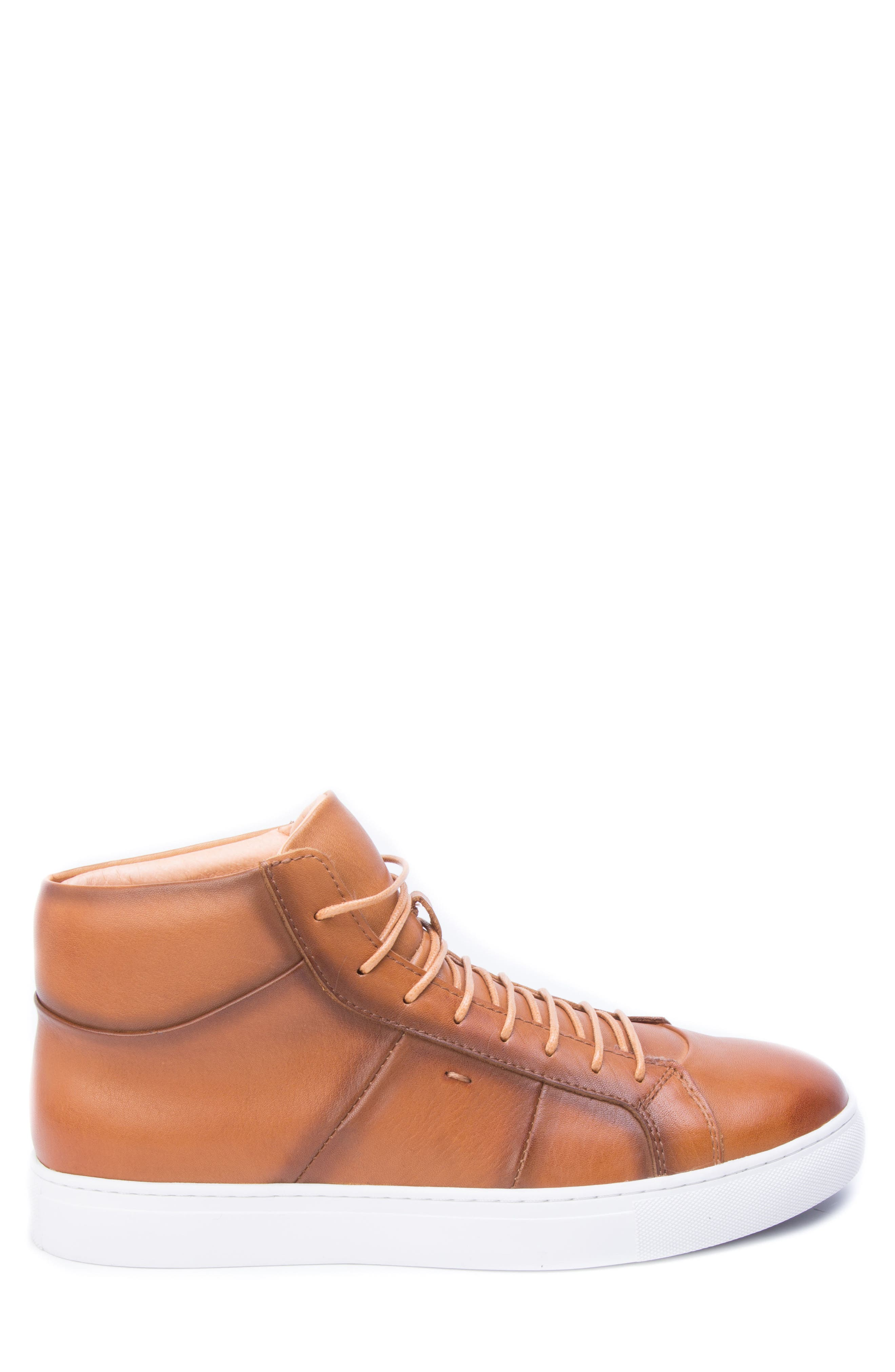 Phaser High Top Sneaker,                             Alternate thumbnail 3, color,                             Cognac Leather