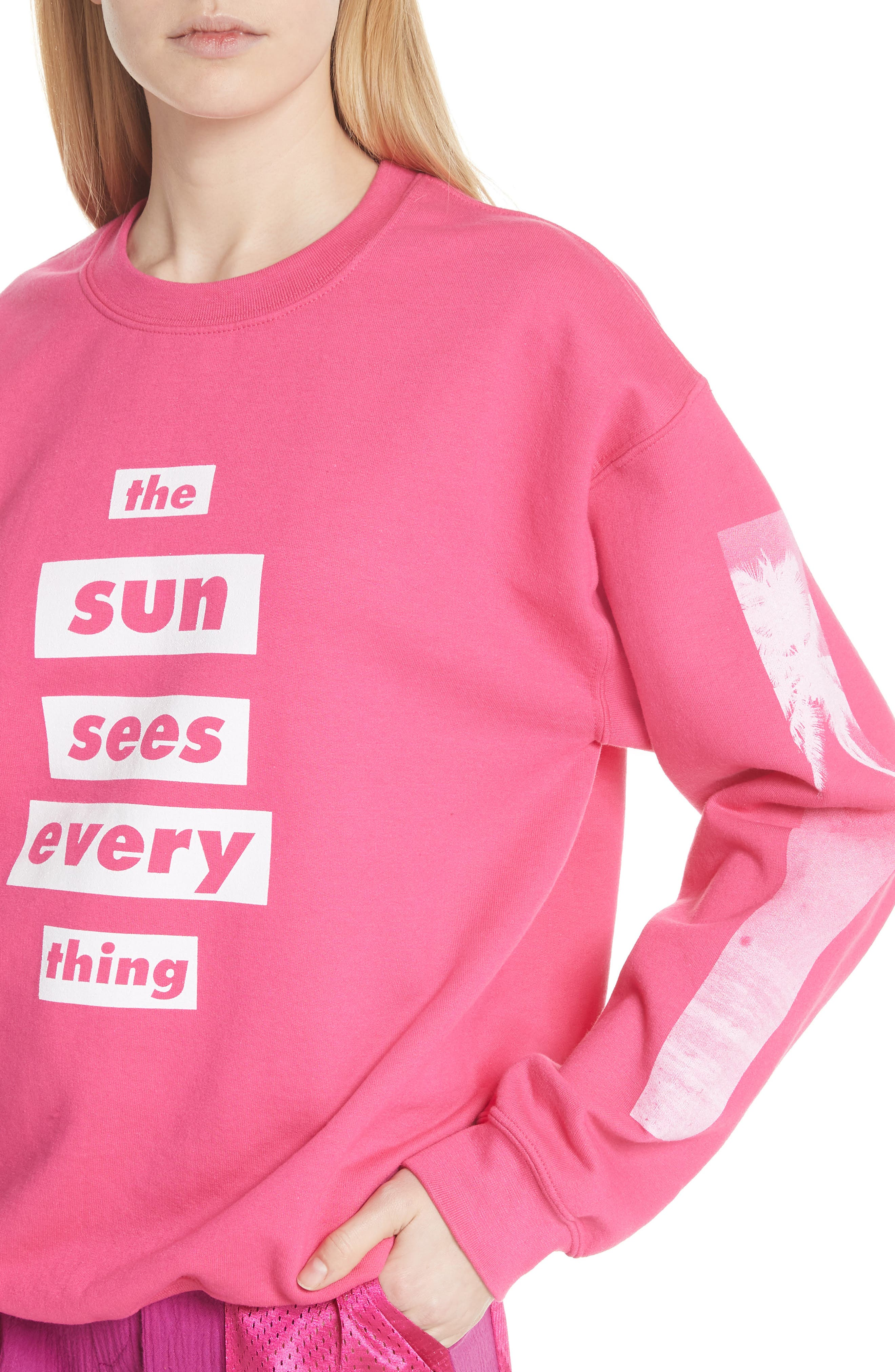 Sun Sees Everything Sweatshirt,                             Alternate thumbnail 4, color,                             Heliconia/ White