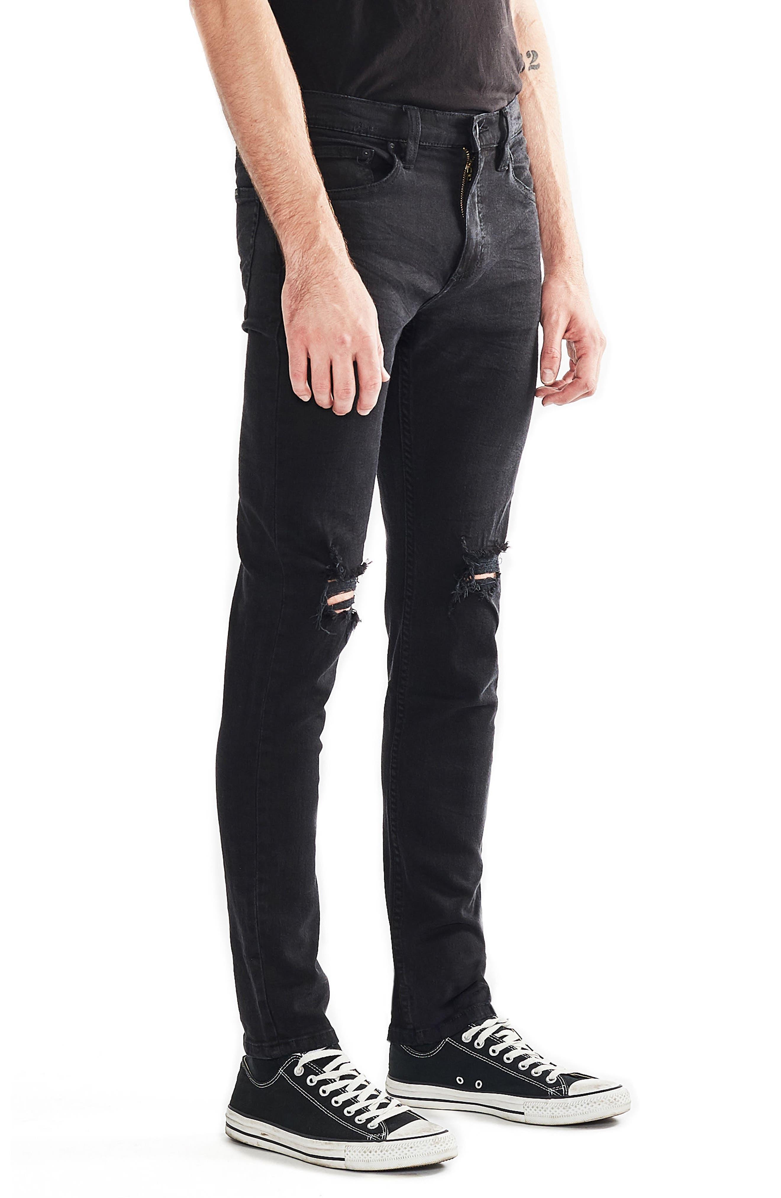 Stinger Skinny Fit Jeans,                             Alternate thumbnail 3, color,                             Black Hole