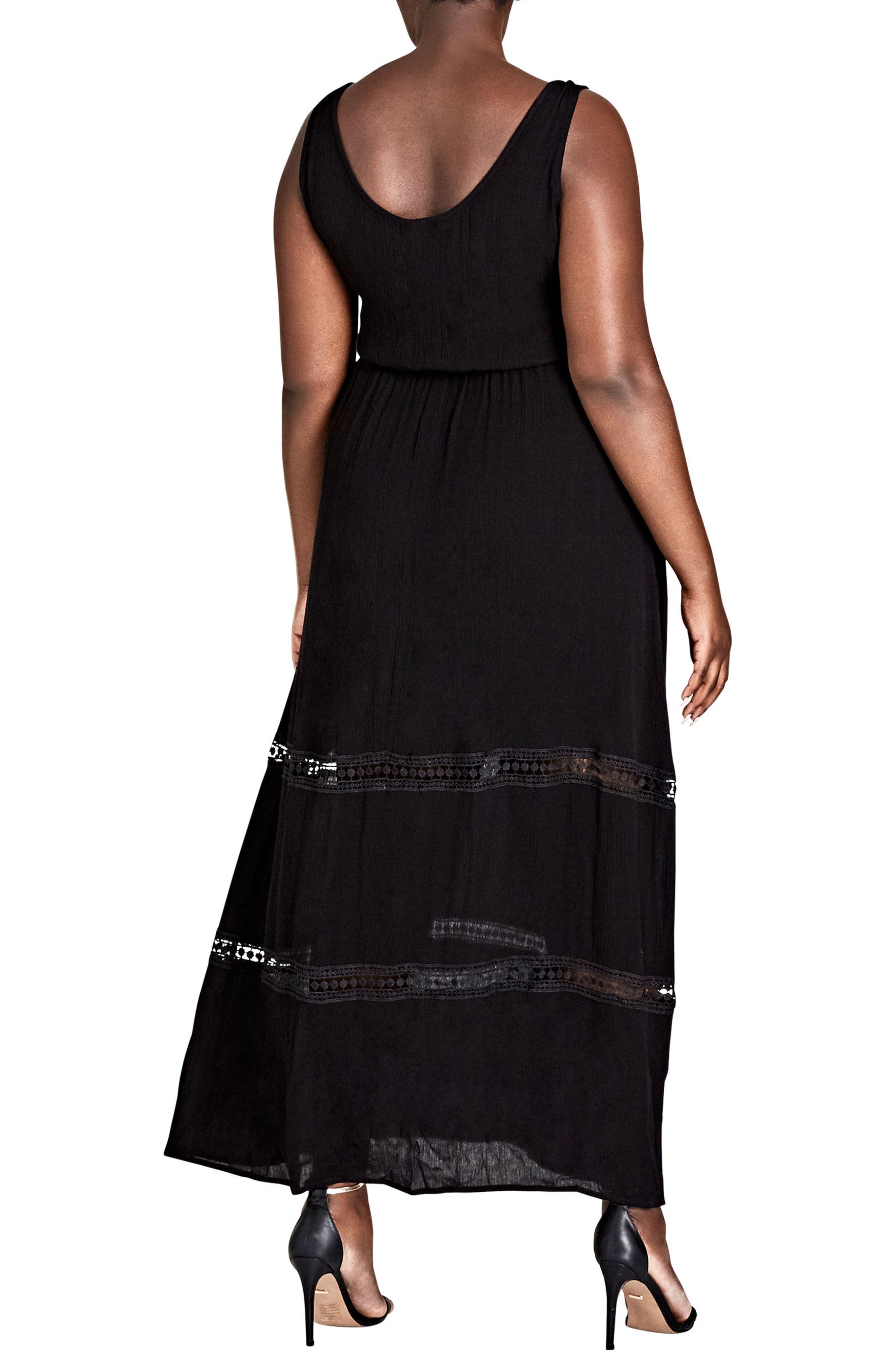Tie Front Maxi Dress,                             Alternate thumbnail 2, color,                             Black