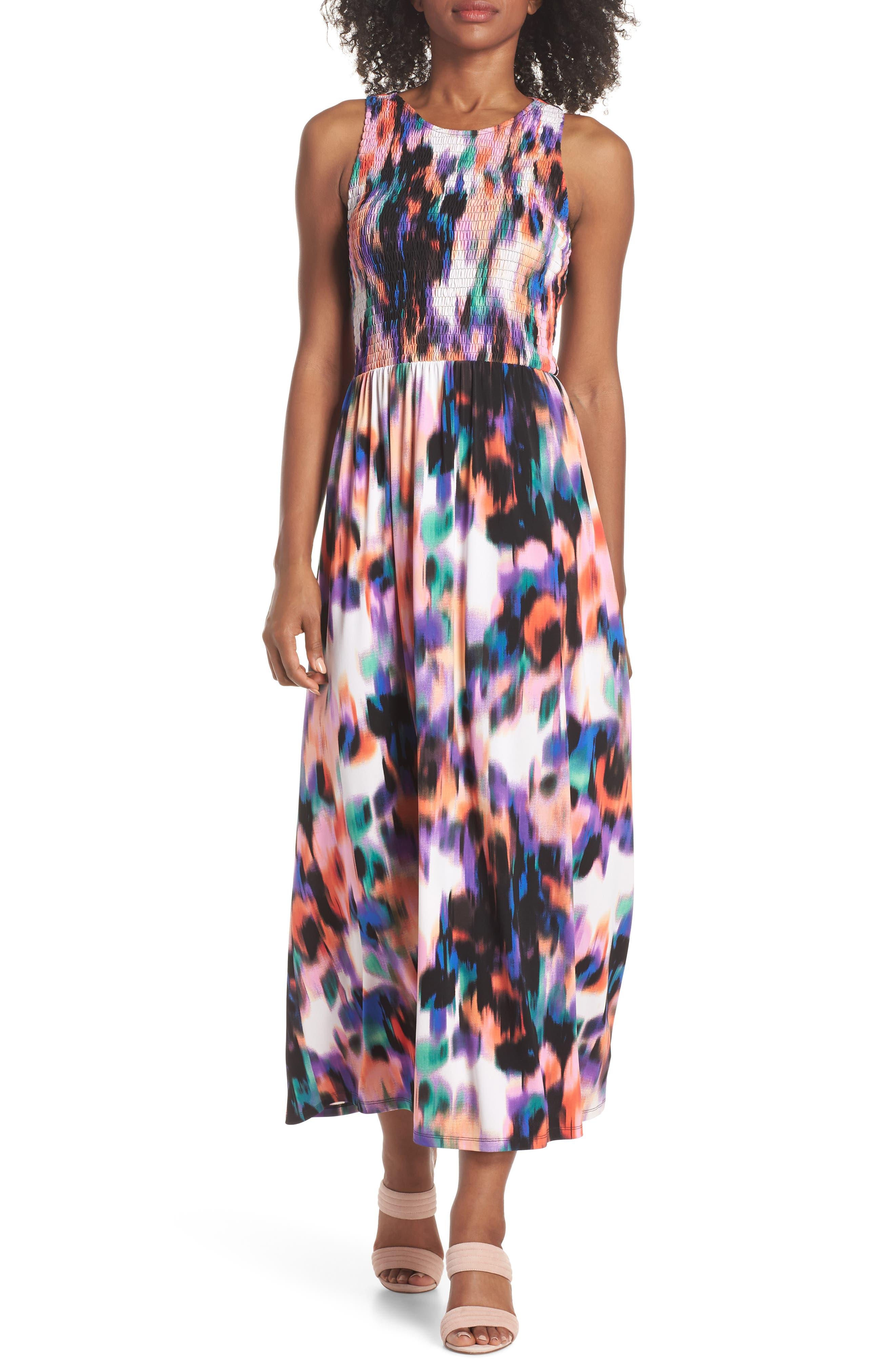 Print Matte Jersey Maxi Dress,                         Main,                         color, Soft White/ Multi