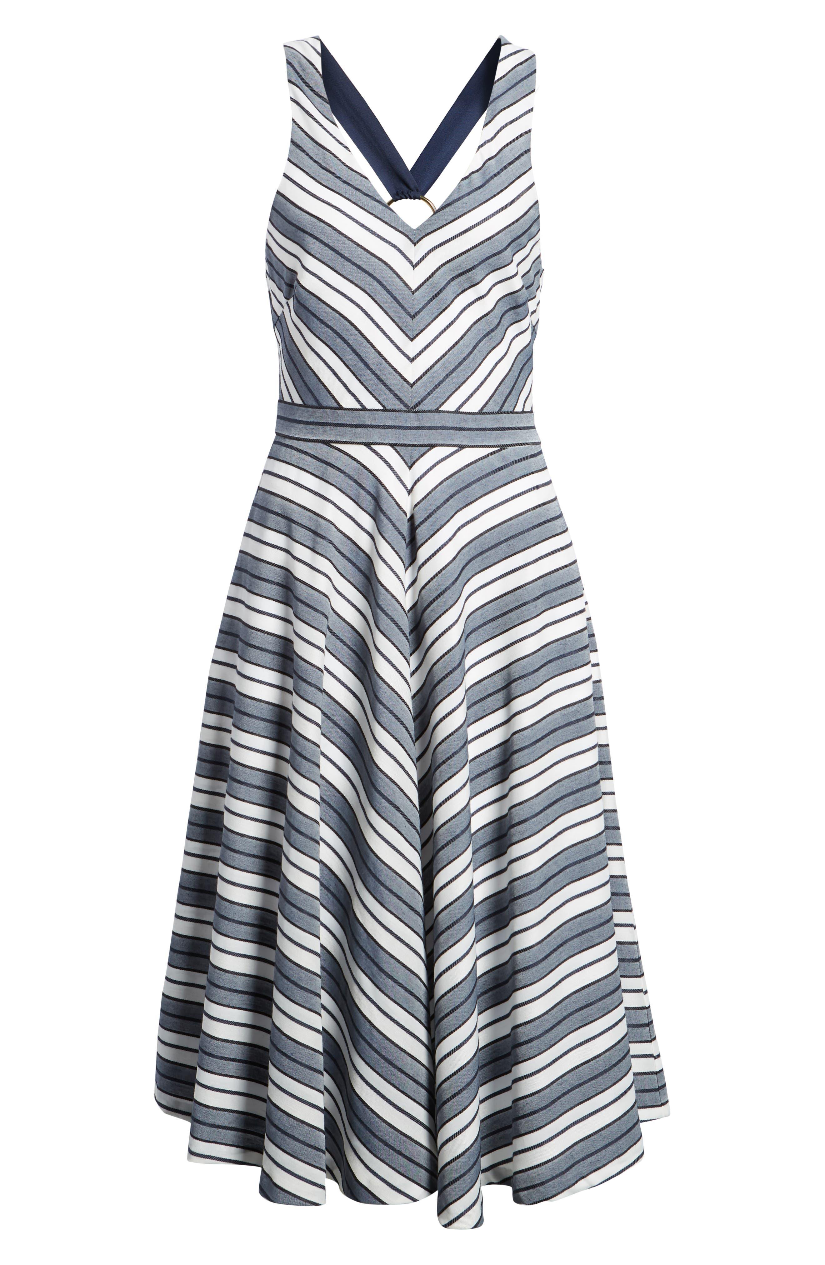 Stripe V-Neck Dress,                             Alternate thumbnail 7, color,                             Navy Stripe