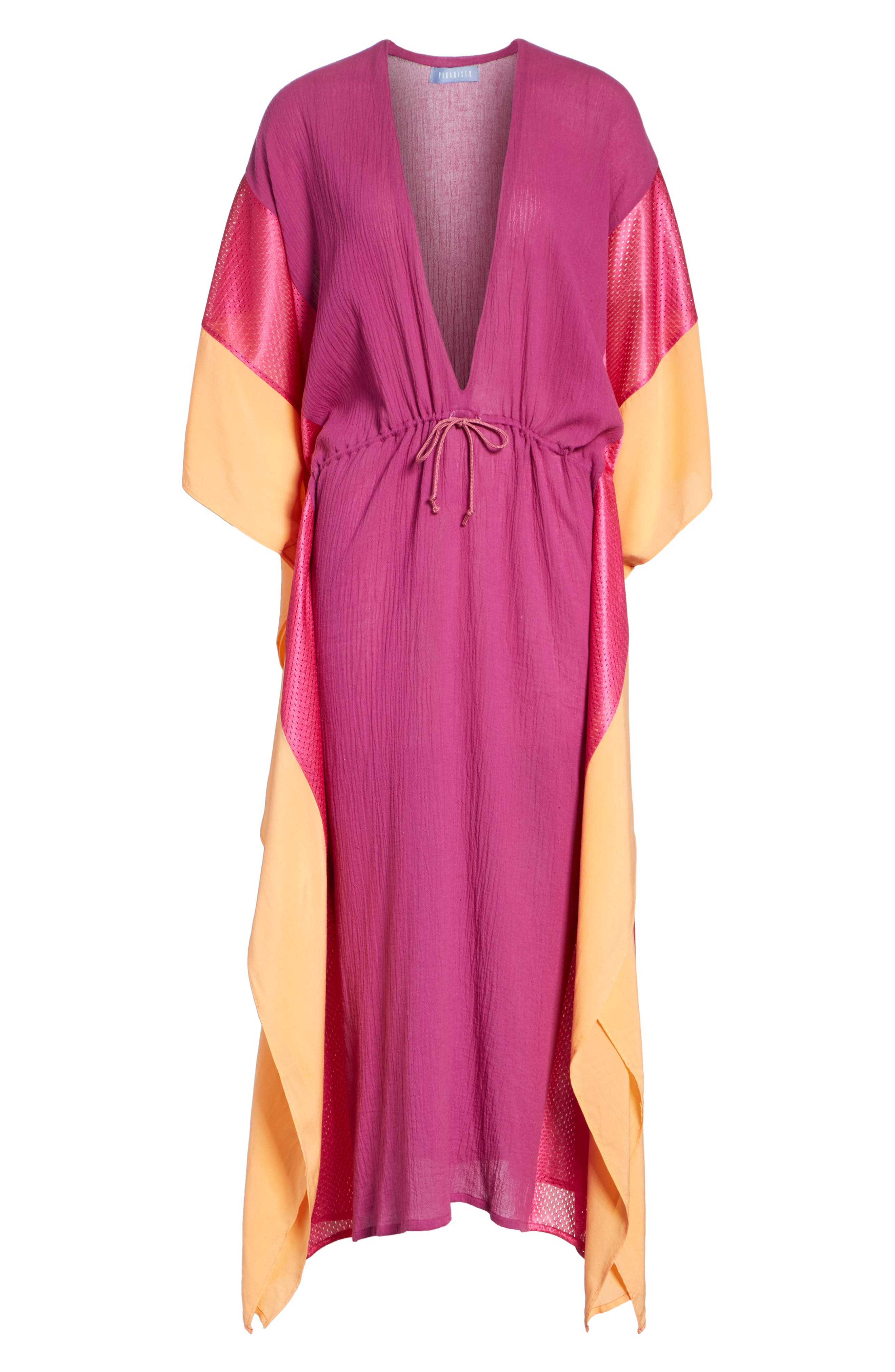 Sun Dance Caftan Dress,                             Alternate thumbnail 6, color,                             Magenta/ Orange