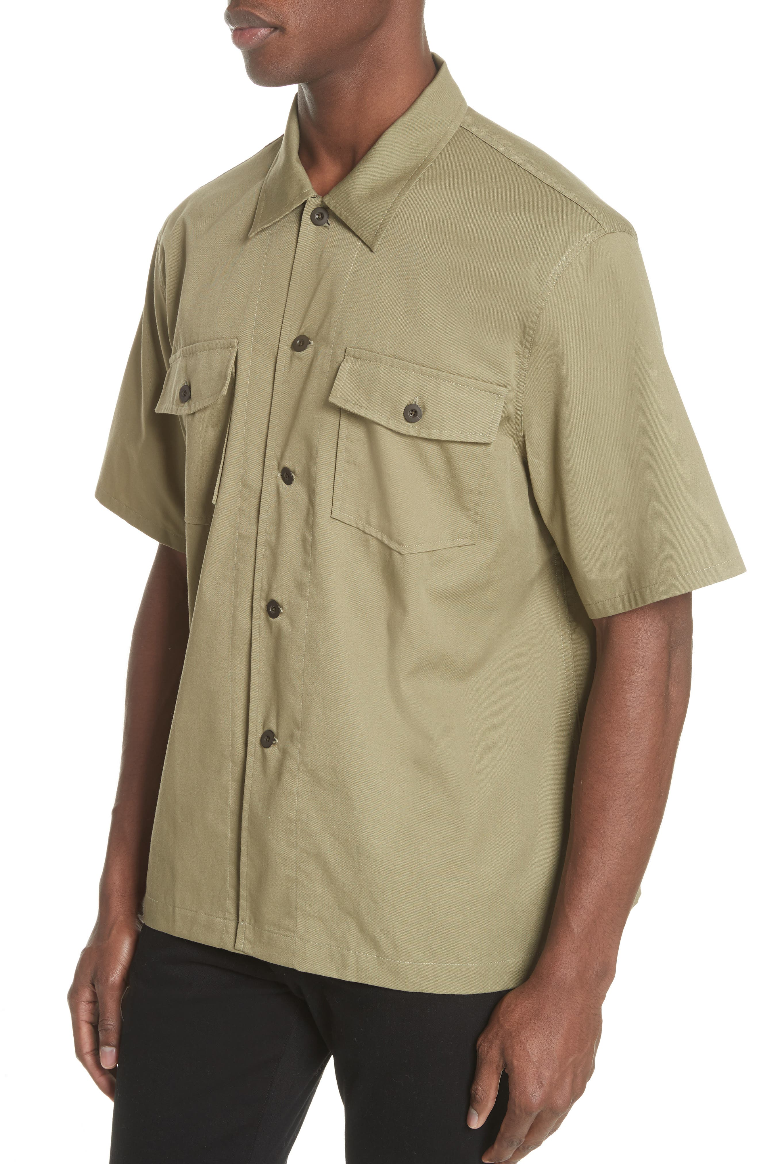 Double Pocket Woven Shirt,                             Alternate thumbnail 4, color,                             Olive