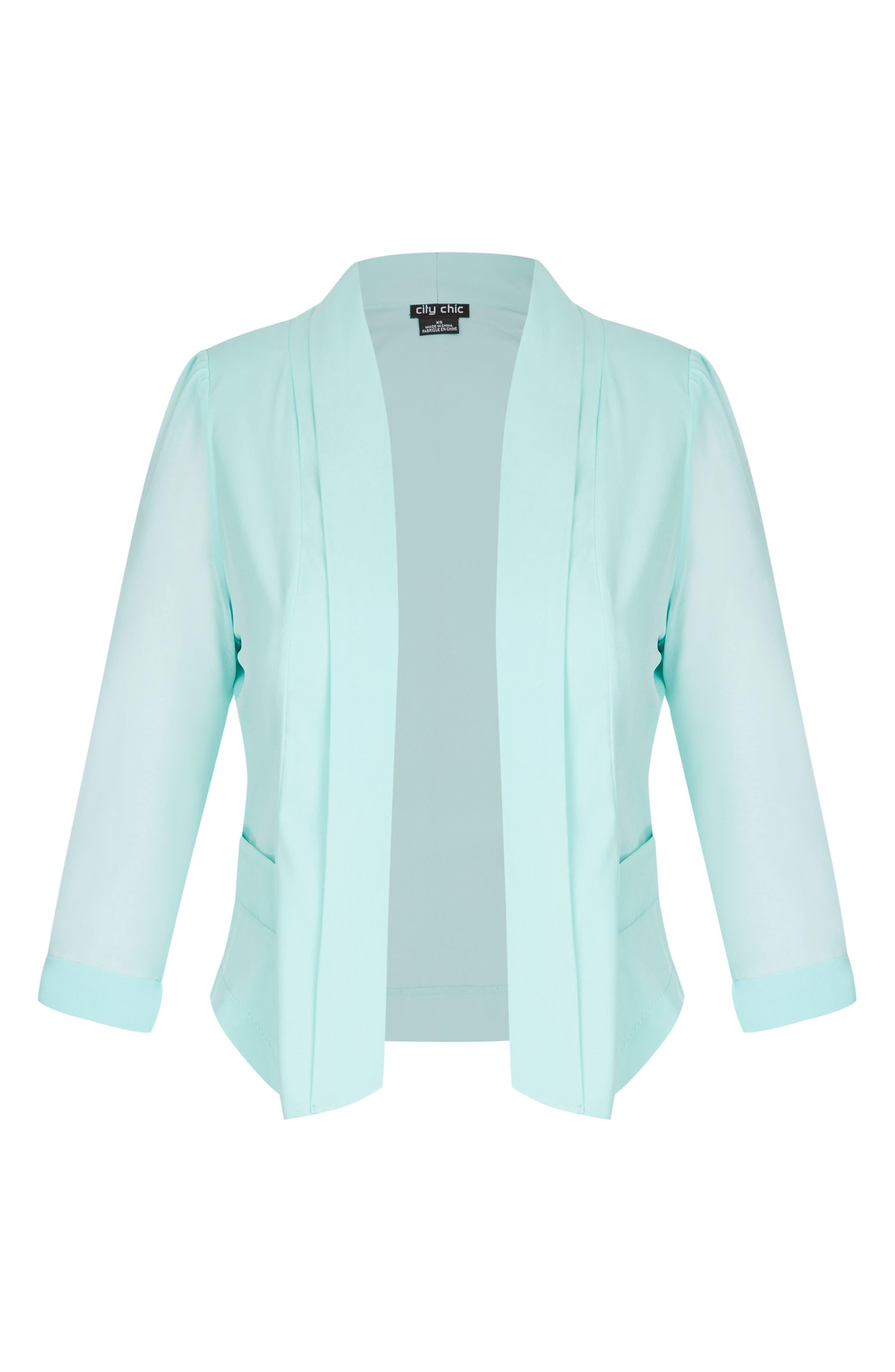 Sheer Sleeve Crop Blazer,                             Alternate thumbnail 3, color,                             Mint