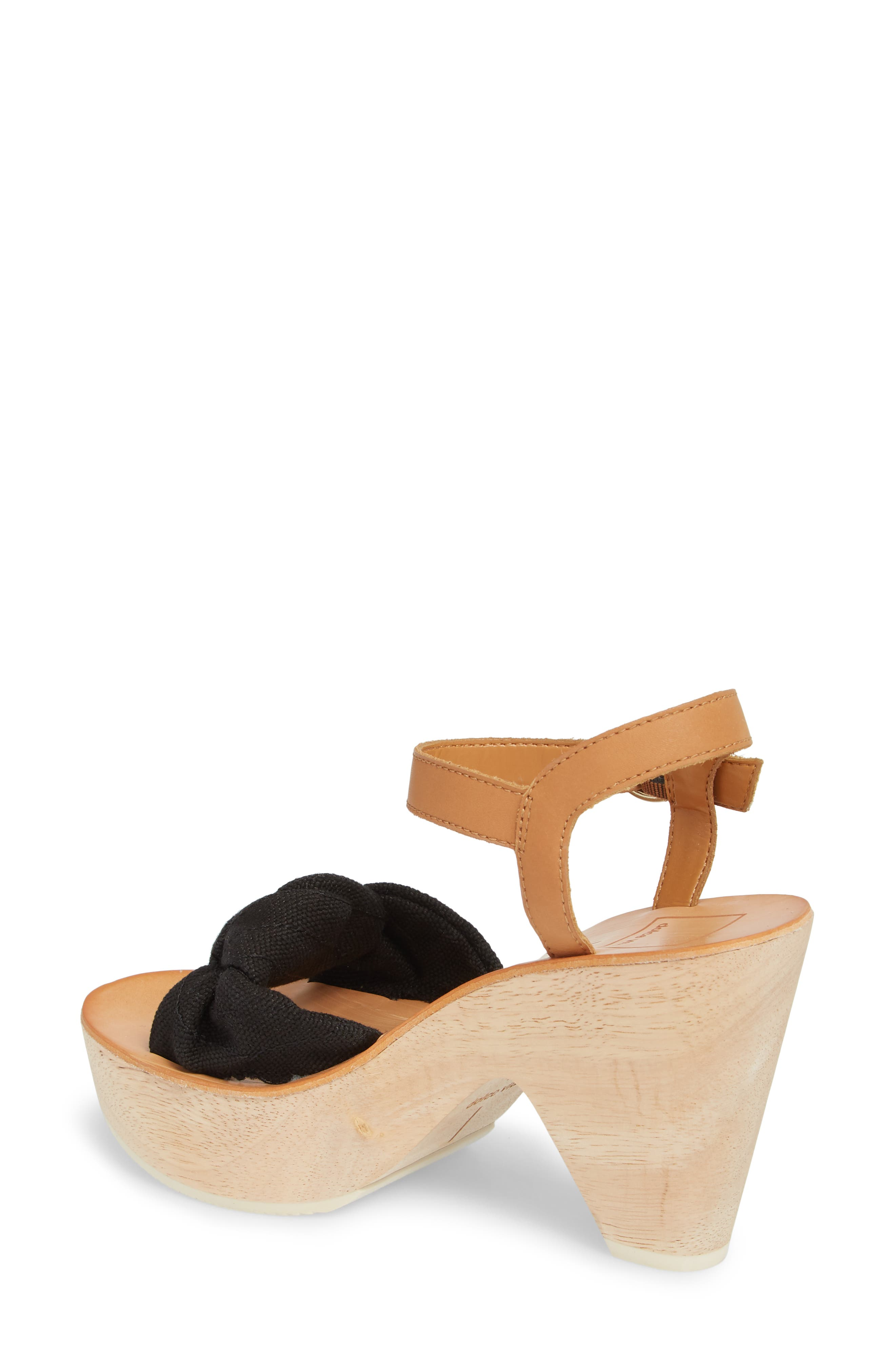 Shia Knotted Platform Sandal,                             Alternate thumbnail 2, color,                             Black Linen