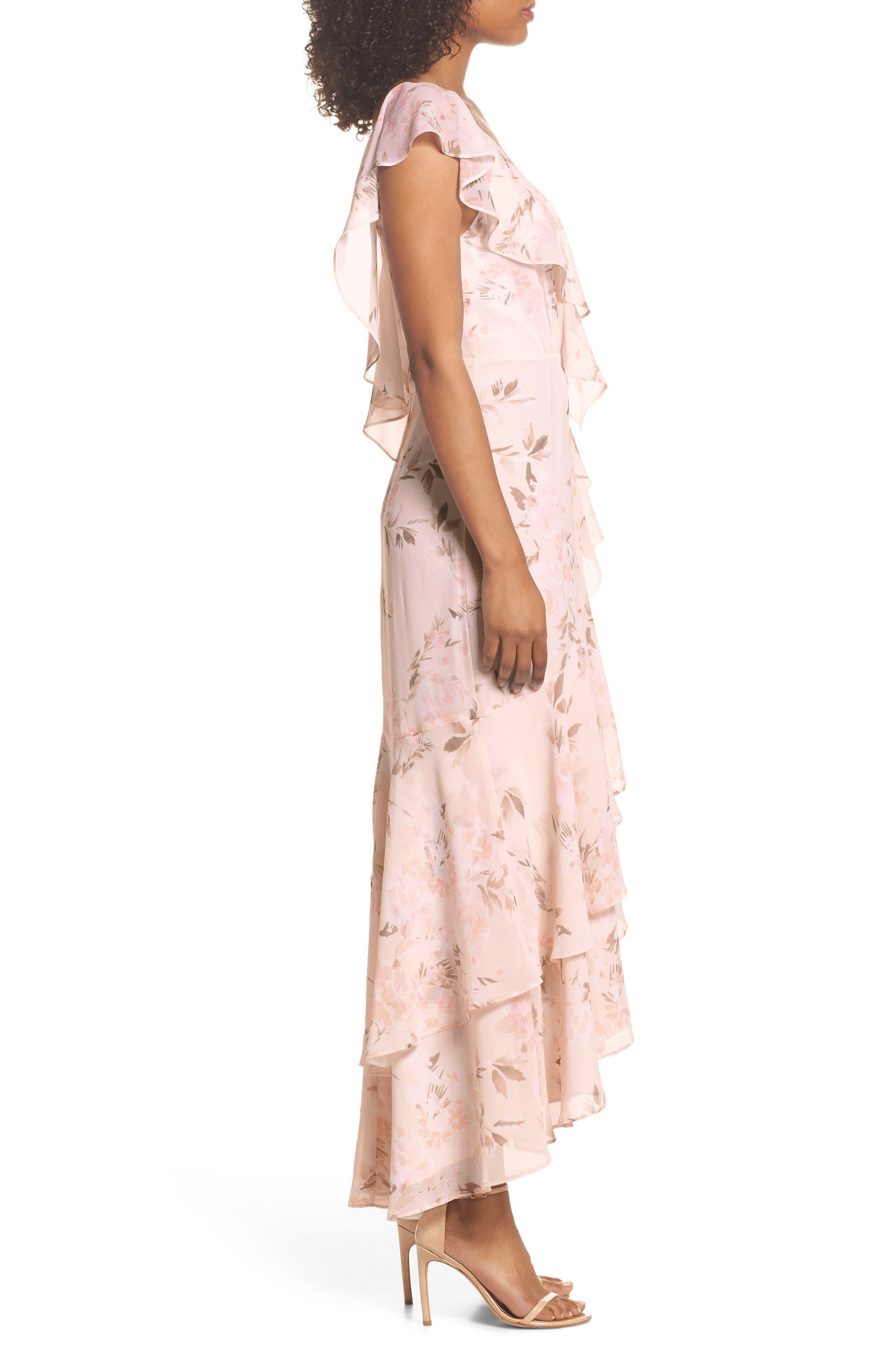 Elanor Ruffle Faux Wrap Maxi Dress,                             Alternate thumbnail 3, color,                             Blush Bouquet