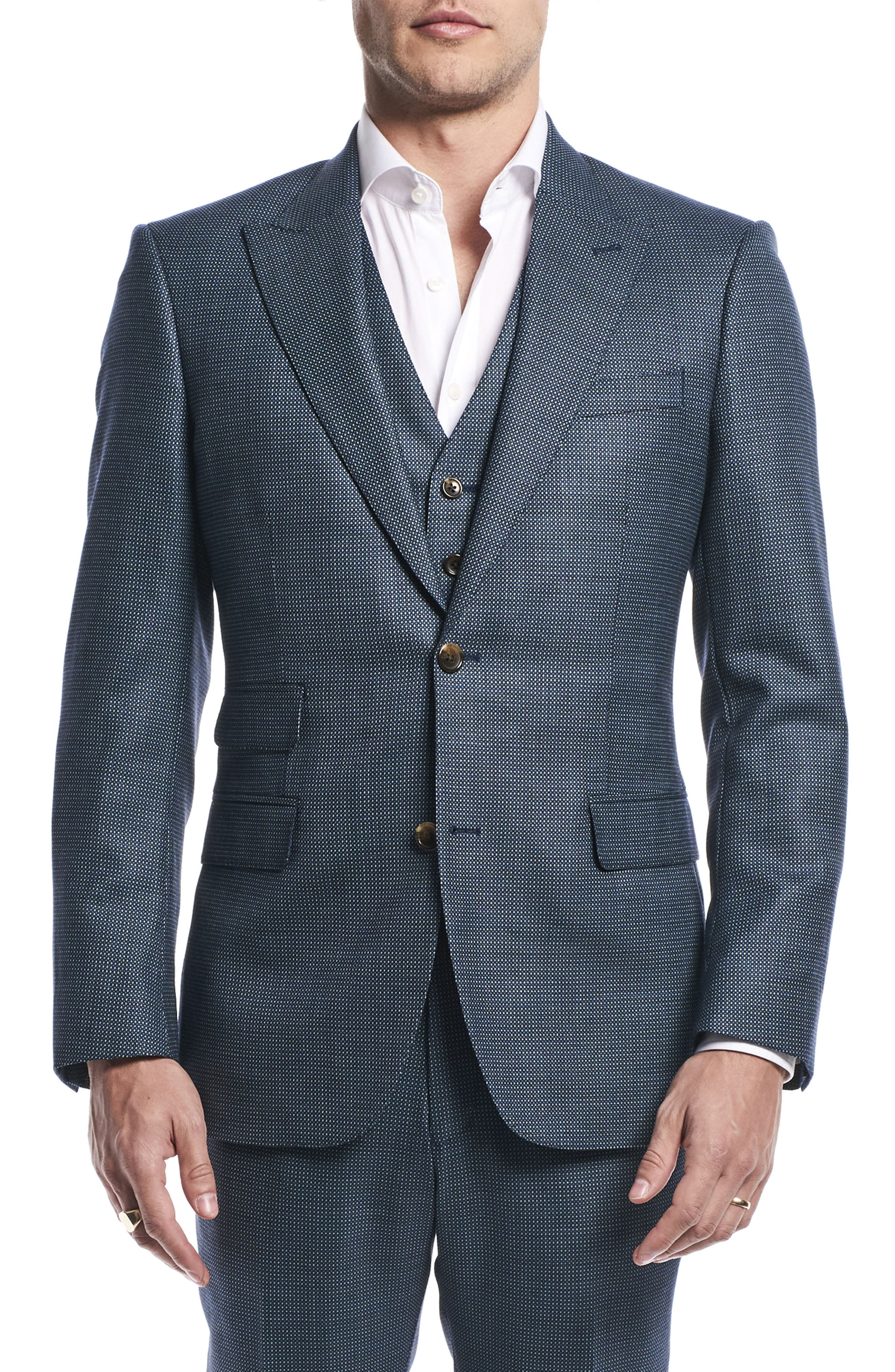 by Ilaria Urbinati Finch Trim Fit Three-Piece Solid Wool Suit,                             Main thumbnail 1, color,                             Pacific Blue Dot