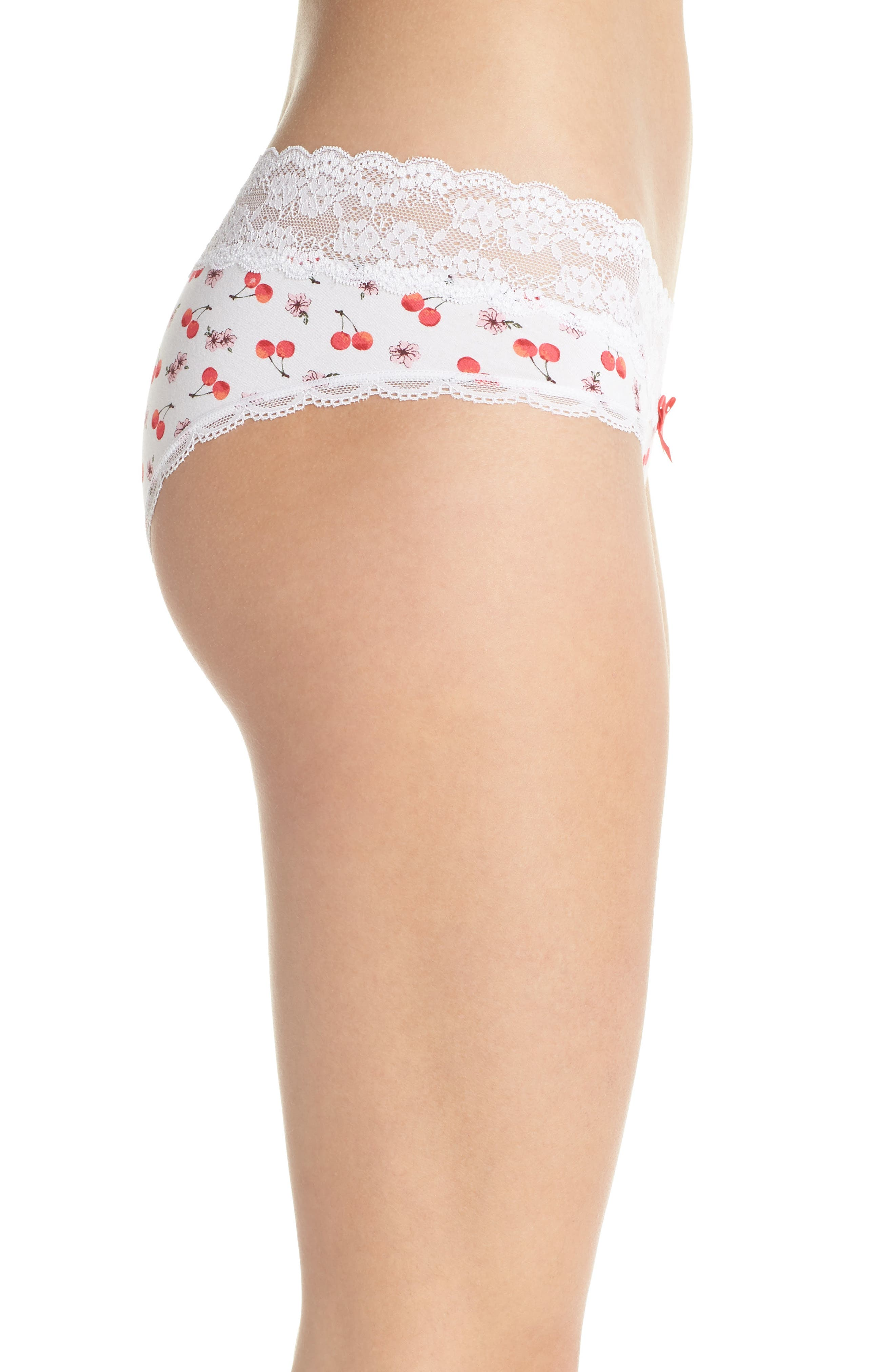 Lace Waistband Hipster Panties,                             Alternate thumbnail 3, color,                             White Cherry Blossom