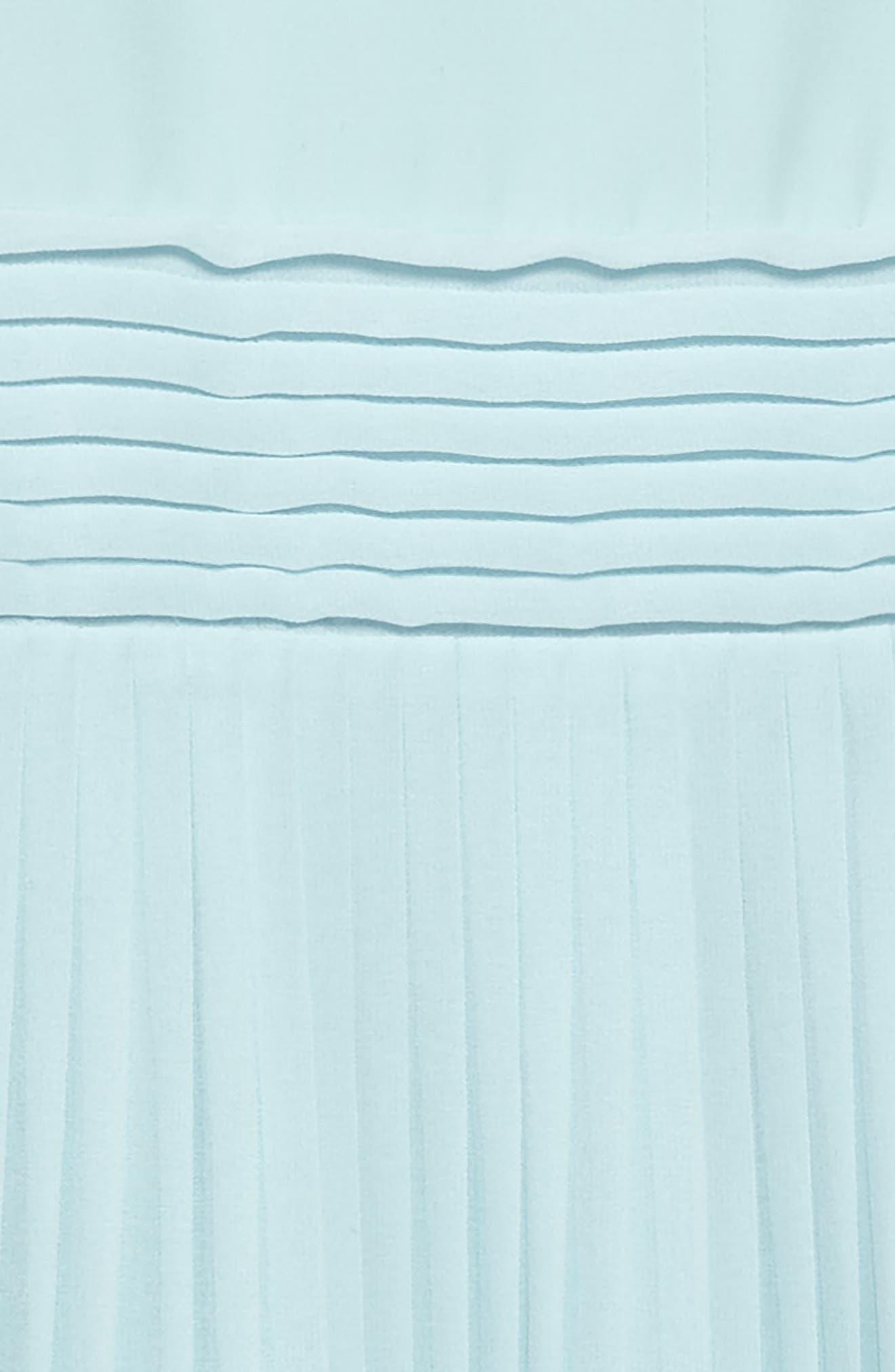 Pleated Chiffon Party Dress,                             Alternate thumbnail 3, color,                             Beau Blue