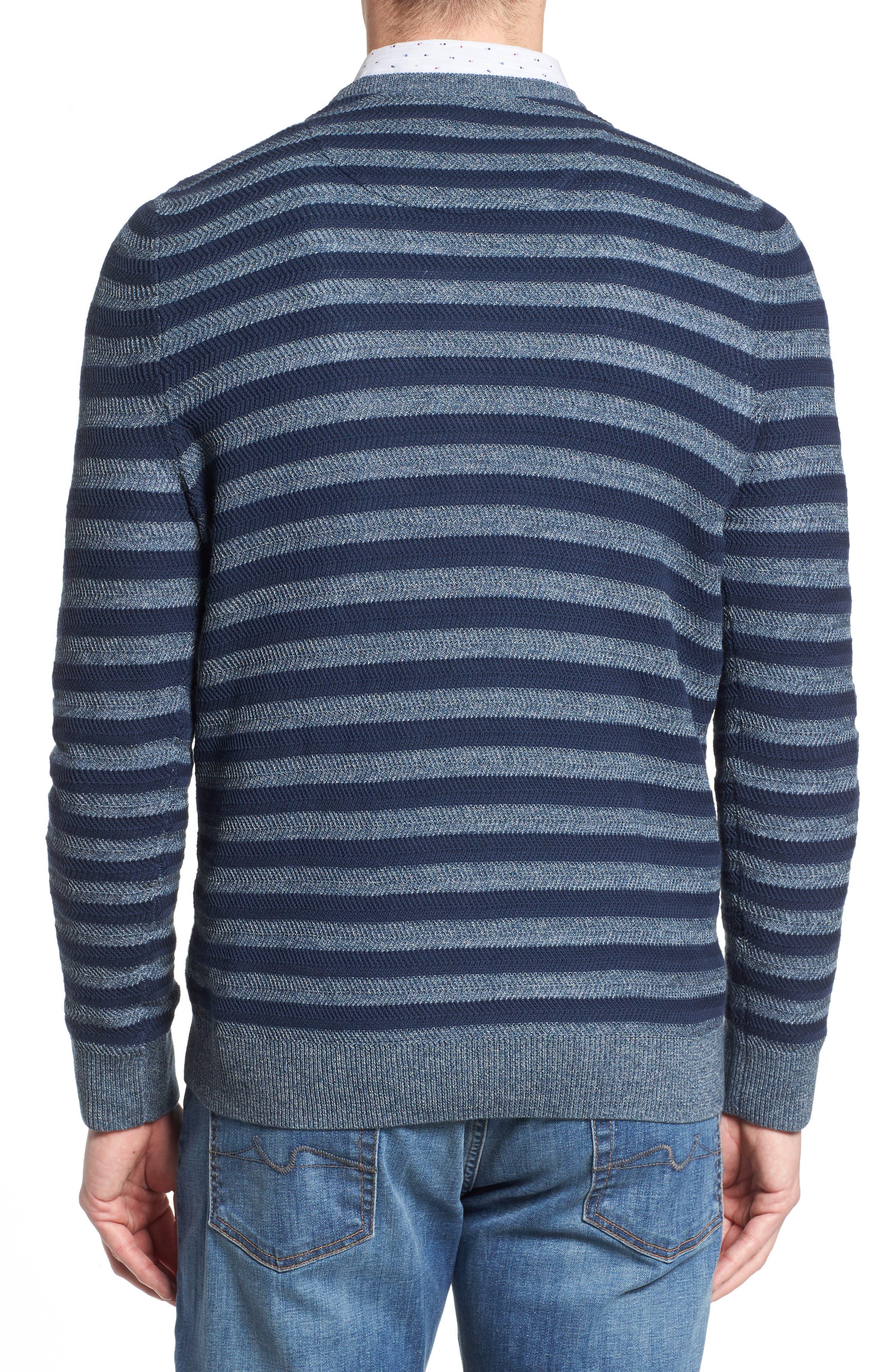 Stripe Cotton Blend Sweater,                             Alternate thumbnail 2, color,                             Navy Iris Stripe
