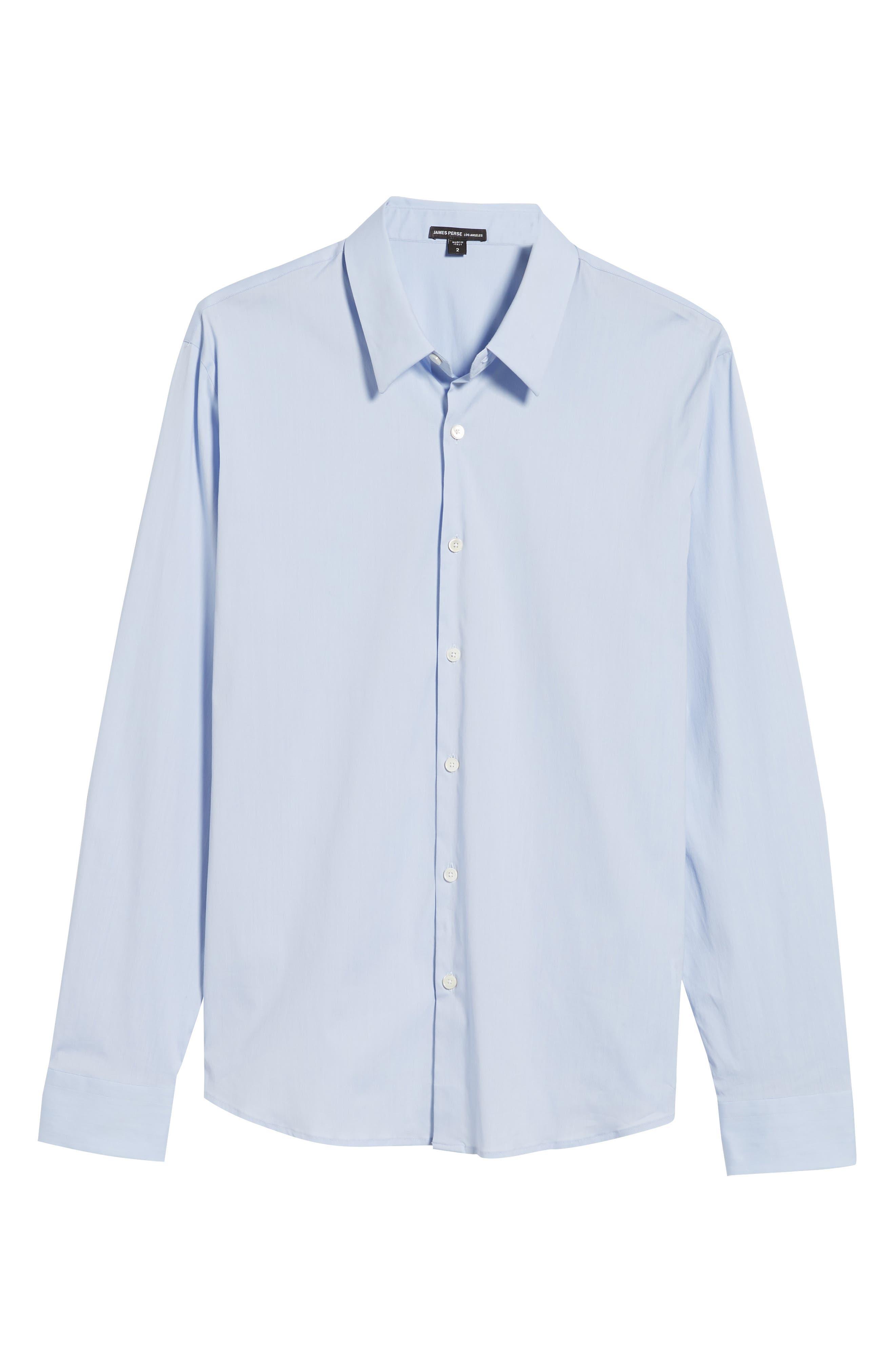 Matte Stretch Poplin Sport Shirt,                             Alternate thumbnail 6, color,                             Blue