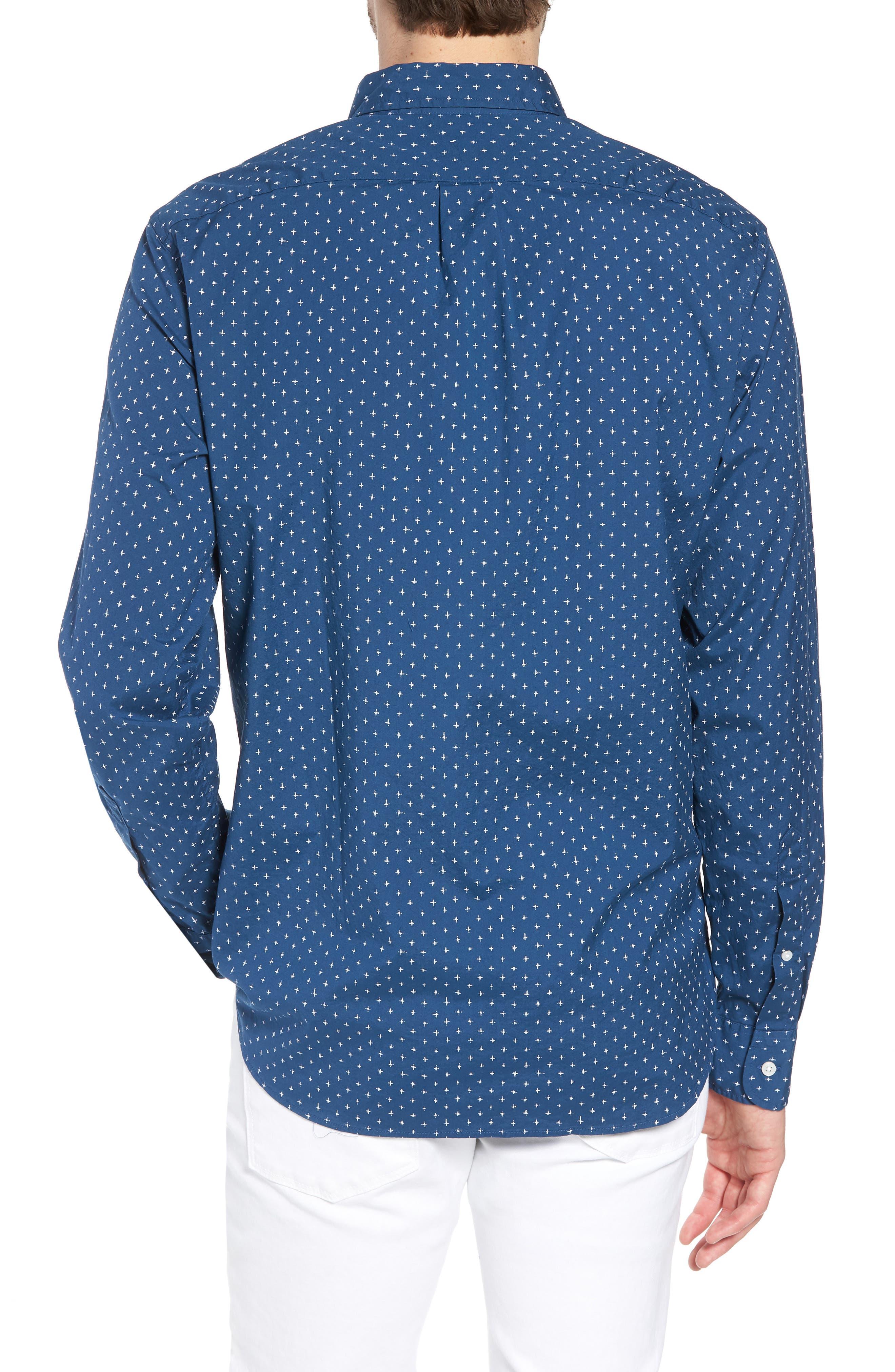 Slim Fit Stretch Secret Wash Crosshatch Print Sport Shirt,                             Alternate thumbnail 2, color,                             Caravan Blue