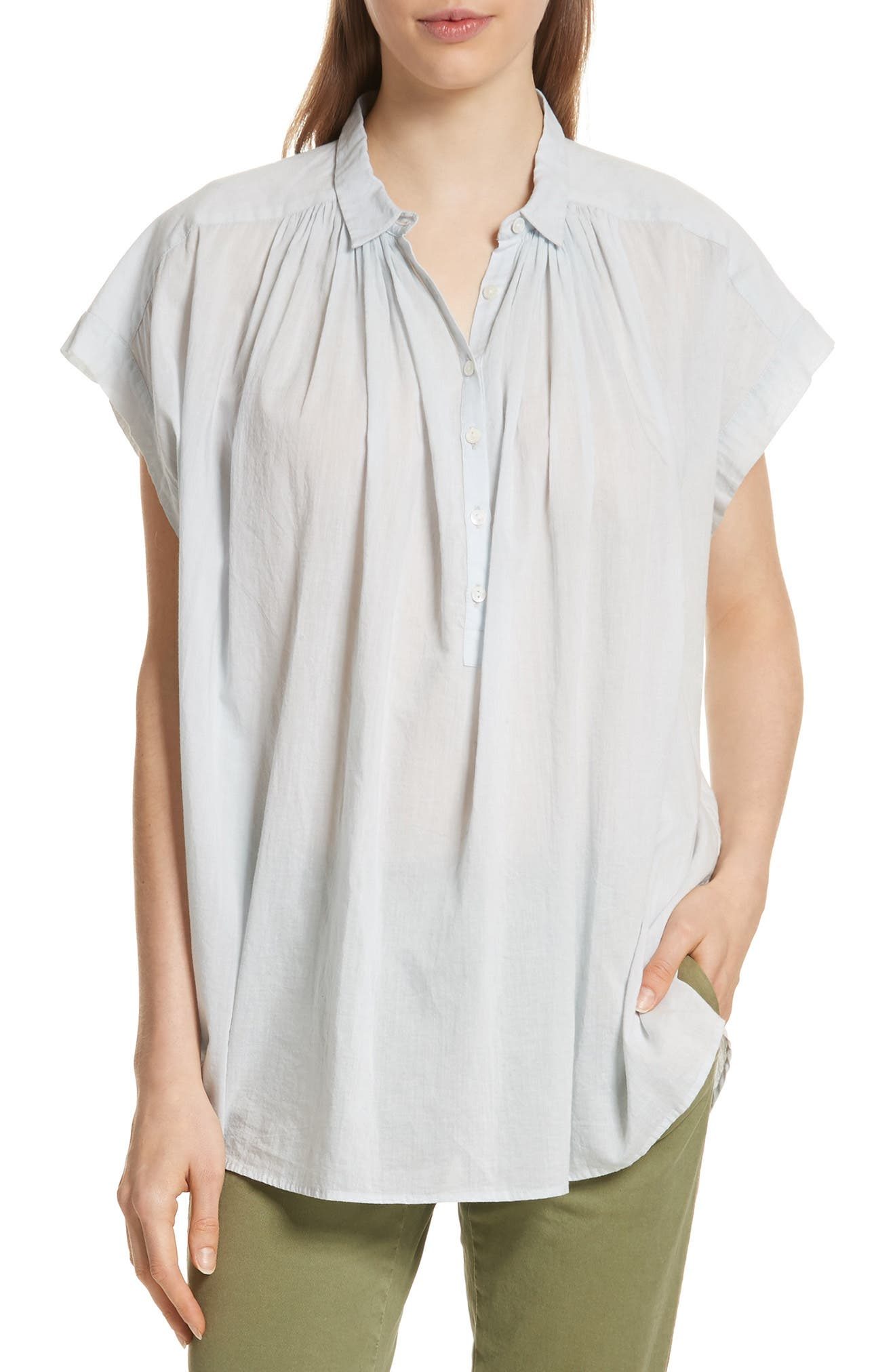 Normandy Gathered Yoke Blouse,                         Main,                         color, Light Blue