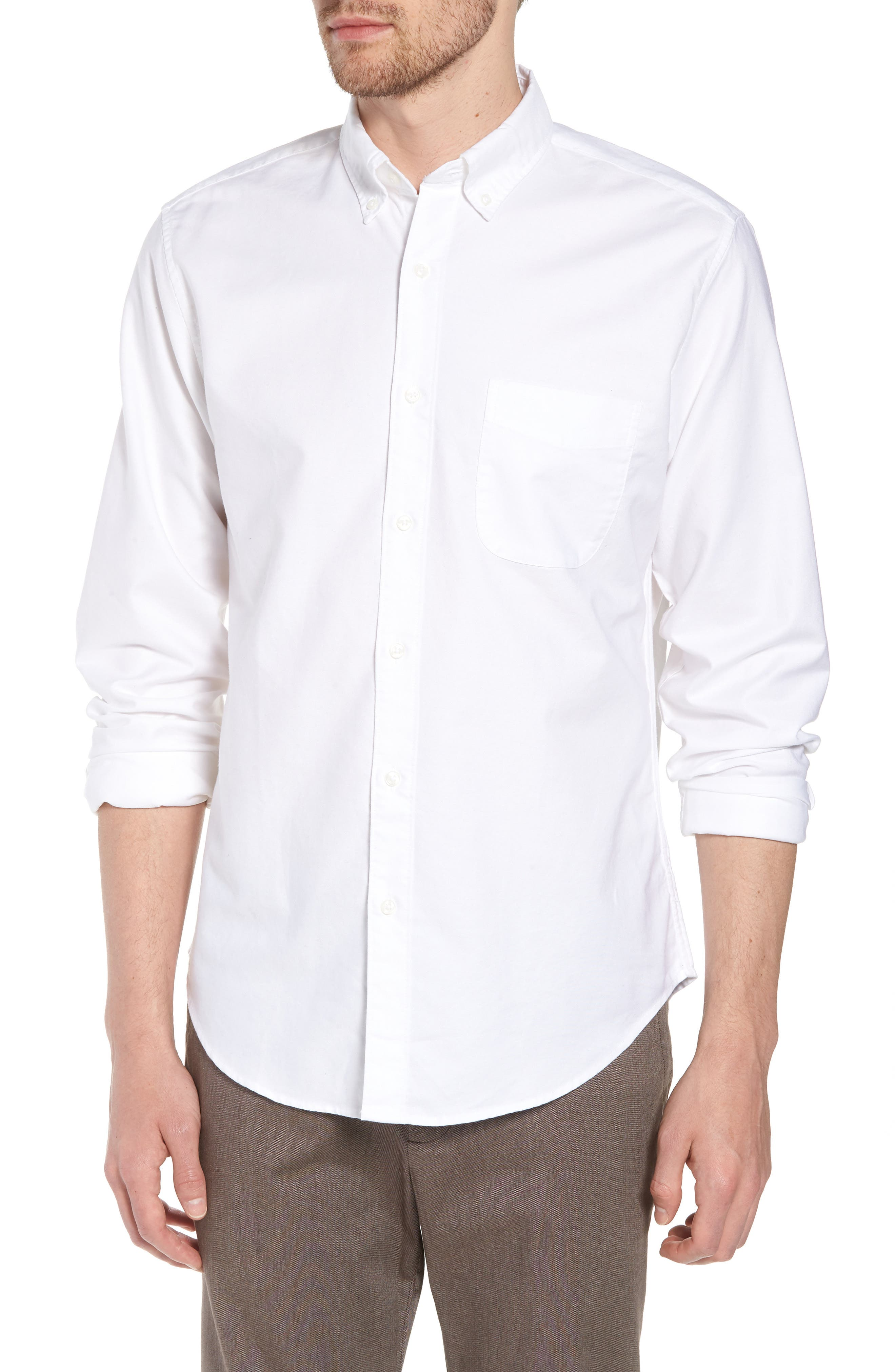 Slim Fit Stretch Pima Cotton Oxford Shirt,                             Main thumbnail 1, color,                             White