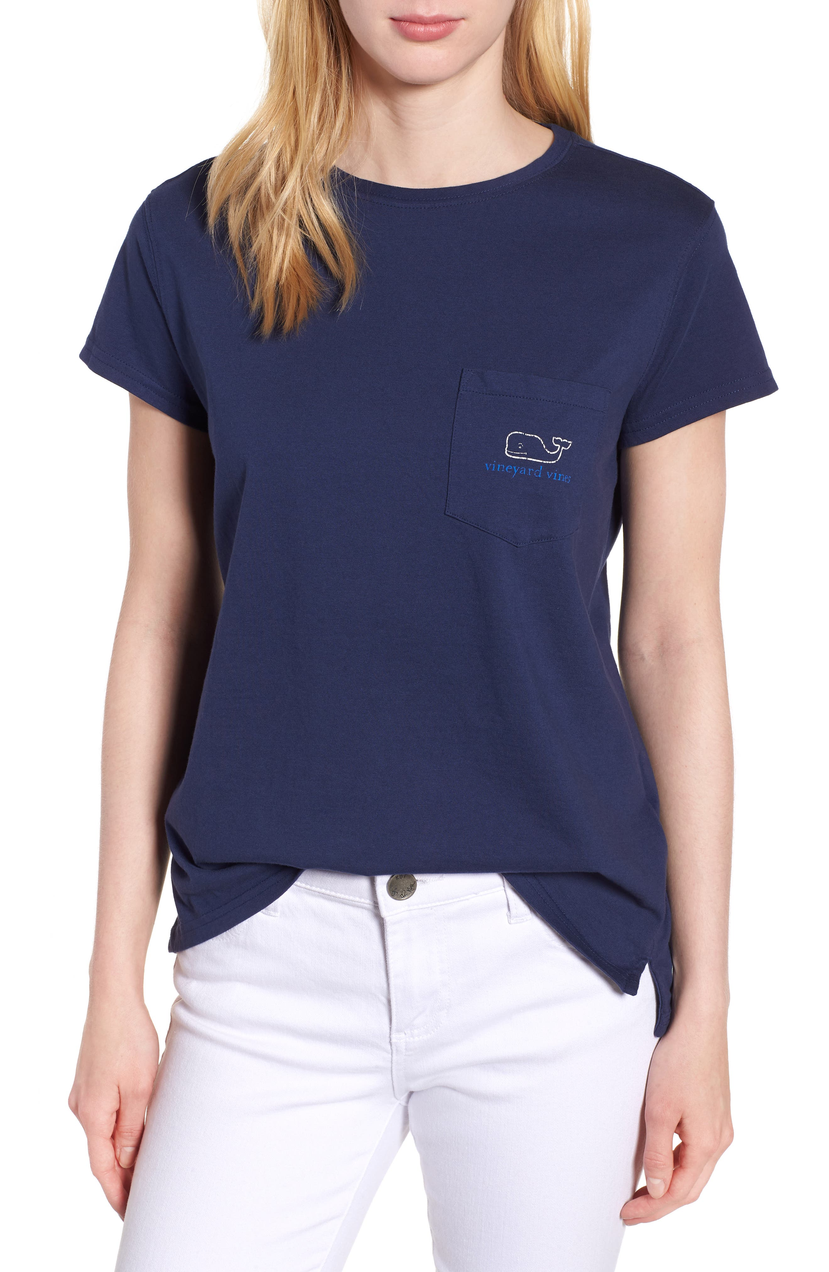 Vintage Whale Relaxed Pocket Tee,                         Main,                         color, Deep Bay